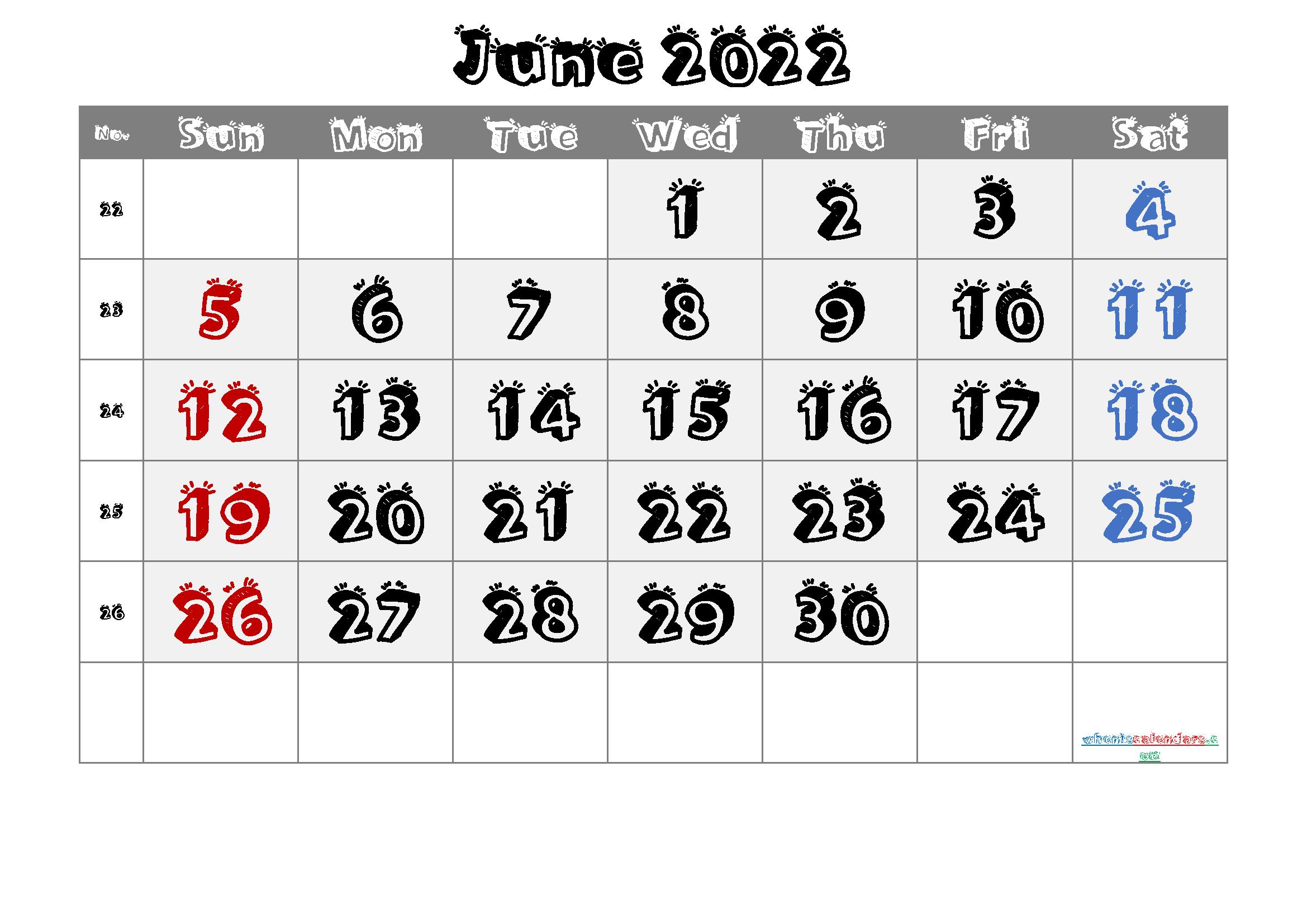Free Printable 2022 June  Calendar