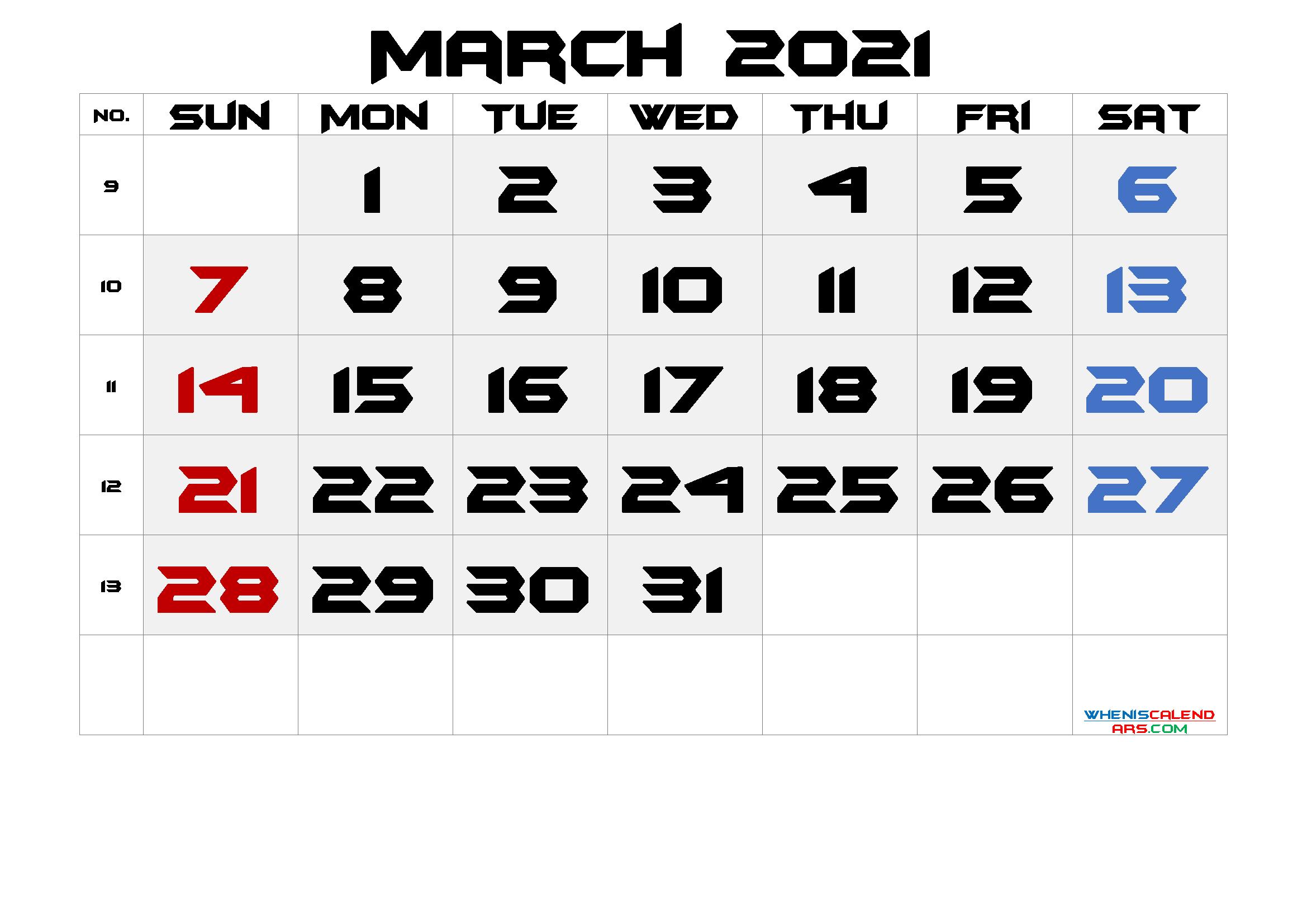 Printable March 2021 Calendar with Week Numbers