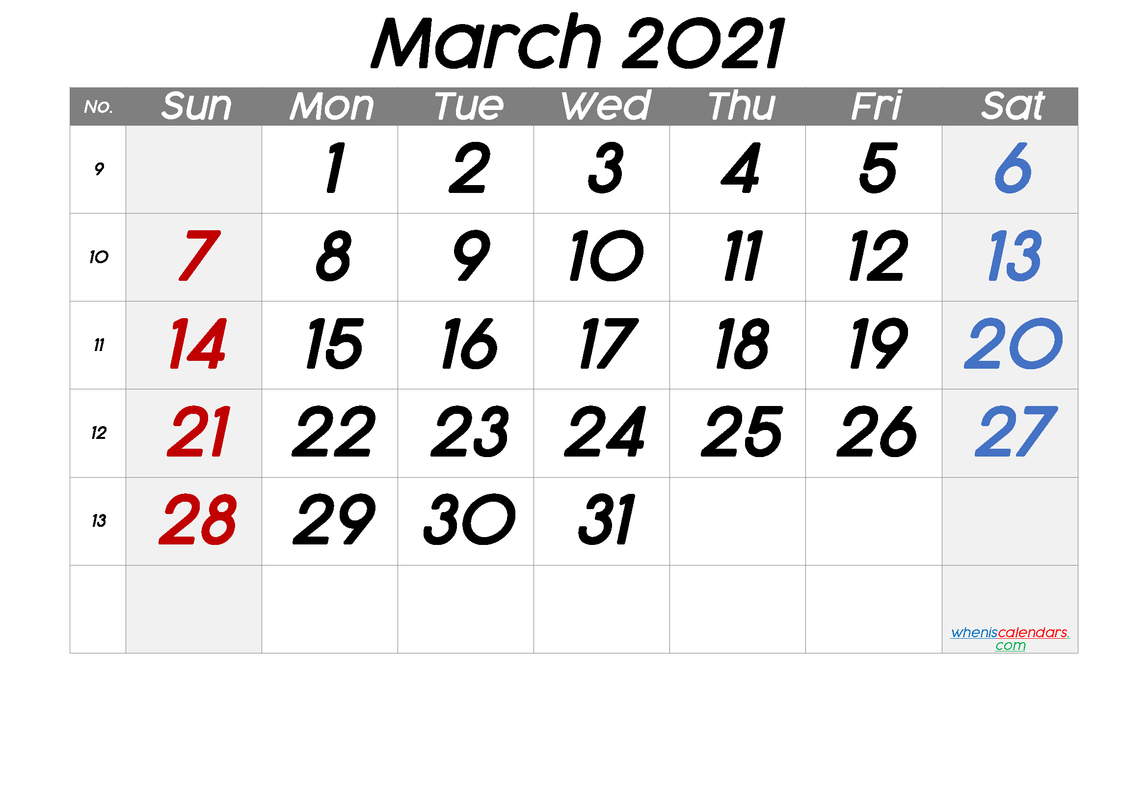 Free March 2021 Calendar with Week Numbers
