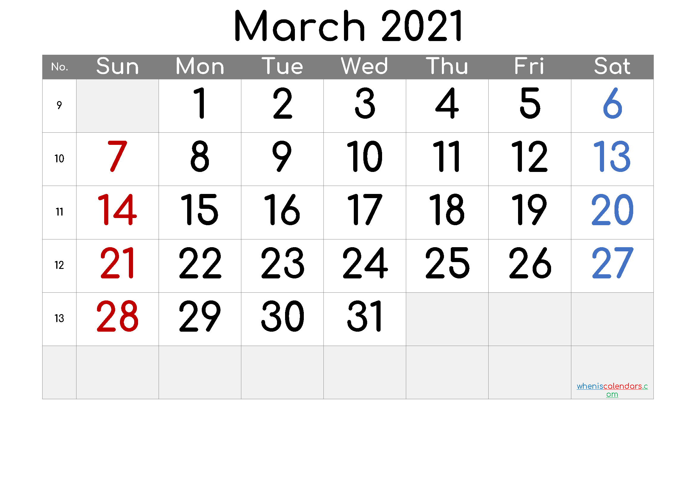 2021 March Free Printable Calendar