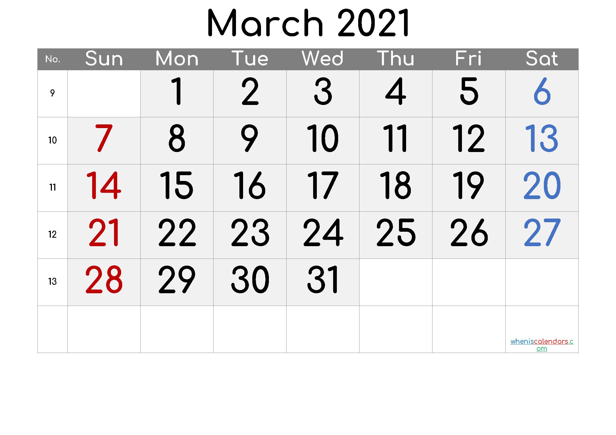 Free March 2021 Calendar