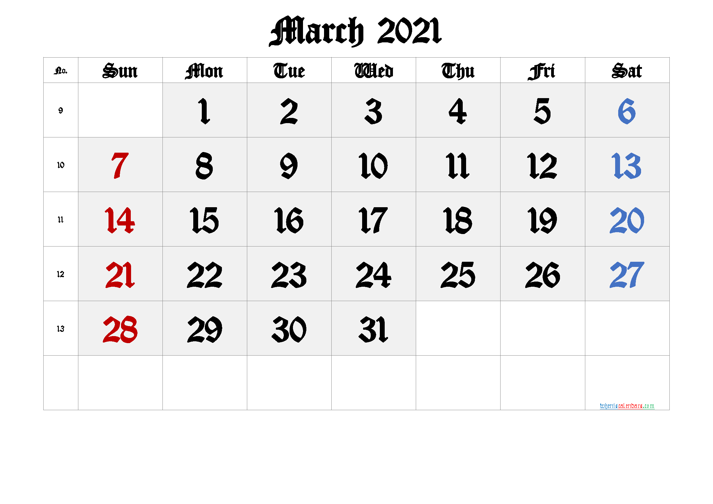 Printable March 2021 Calendar with Week Numbers