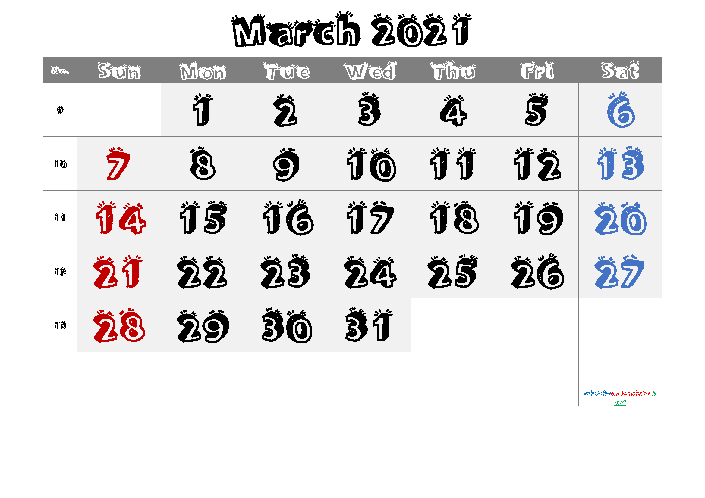 March 2021 Printable Calendar with Week Numbers