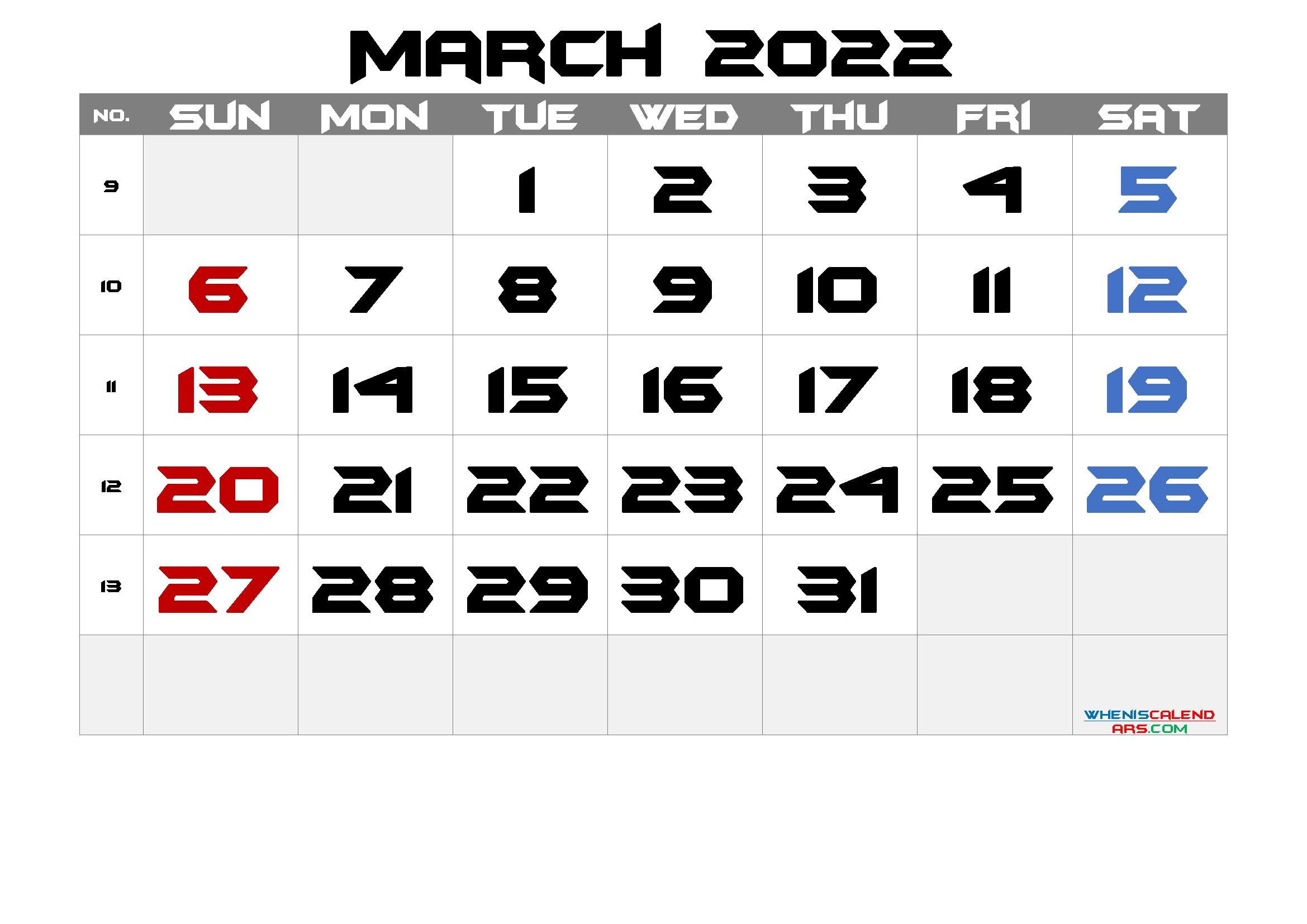 2022 March Free Printable Calendar