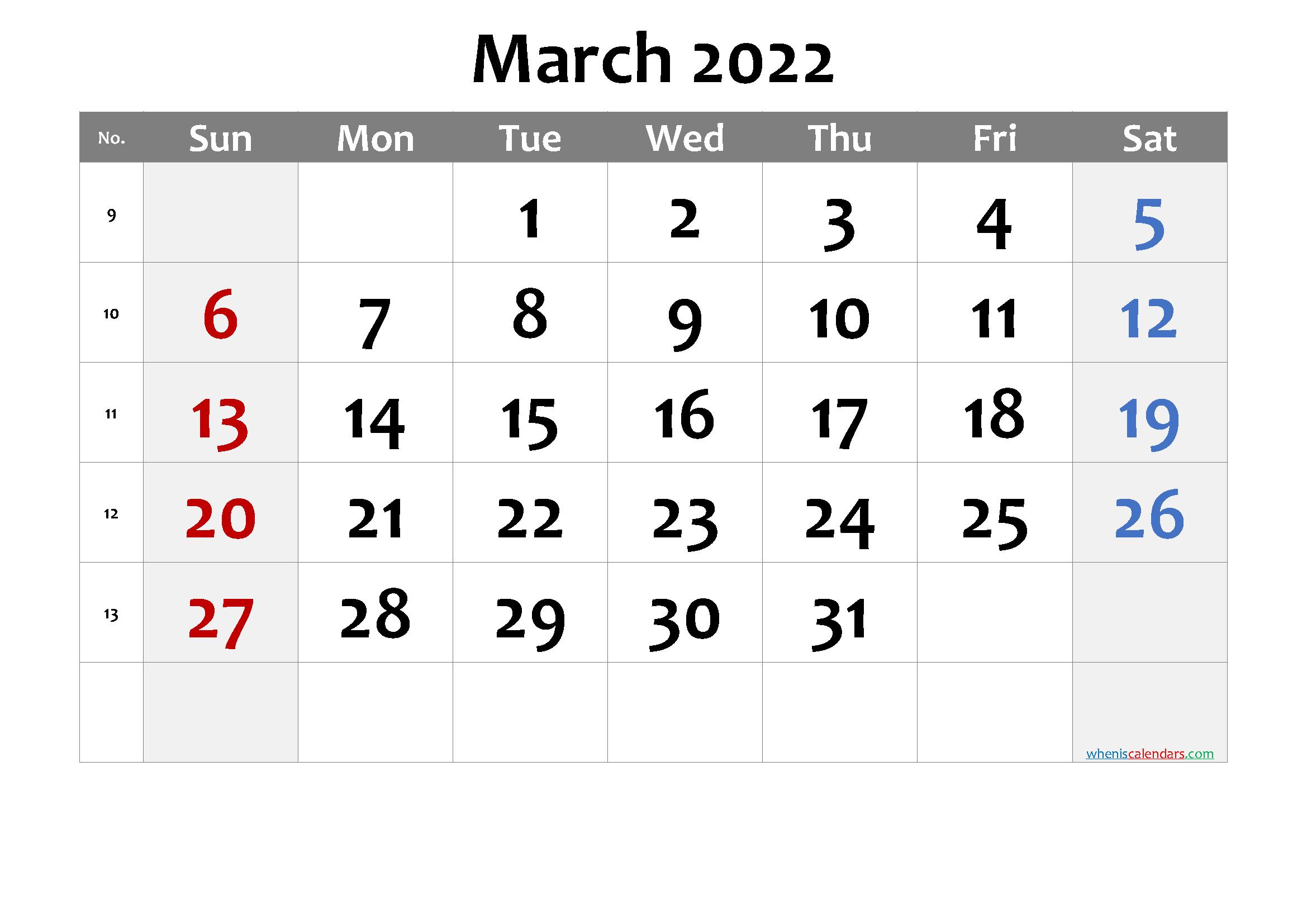 Printable Calendar March 2022