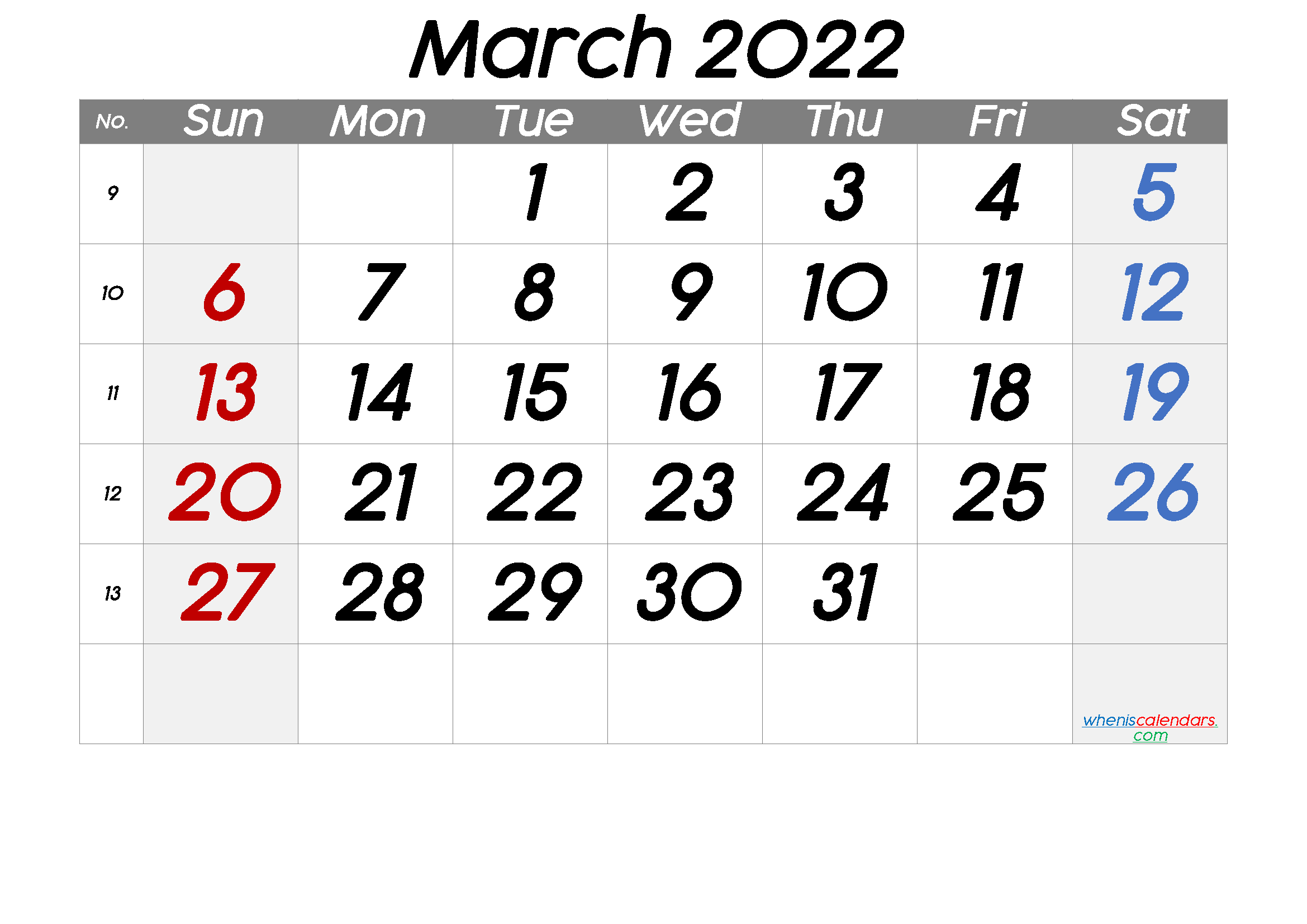 Free March 2022 Calendar with Week Numbers
