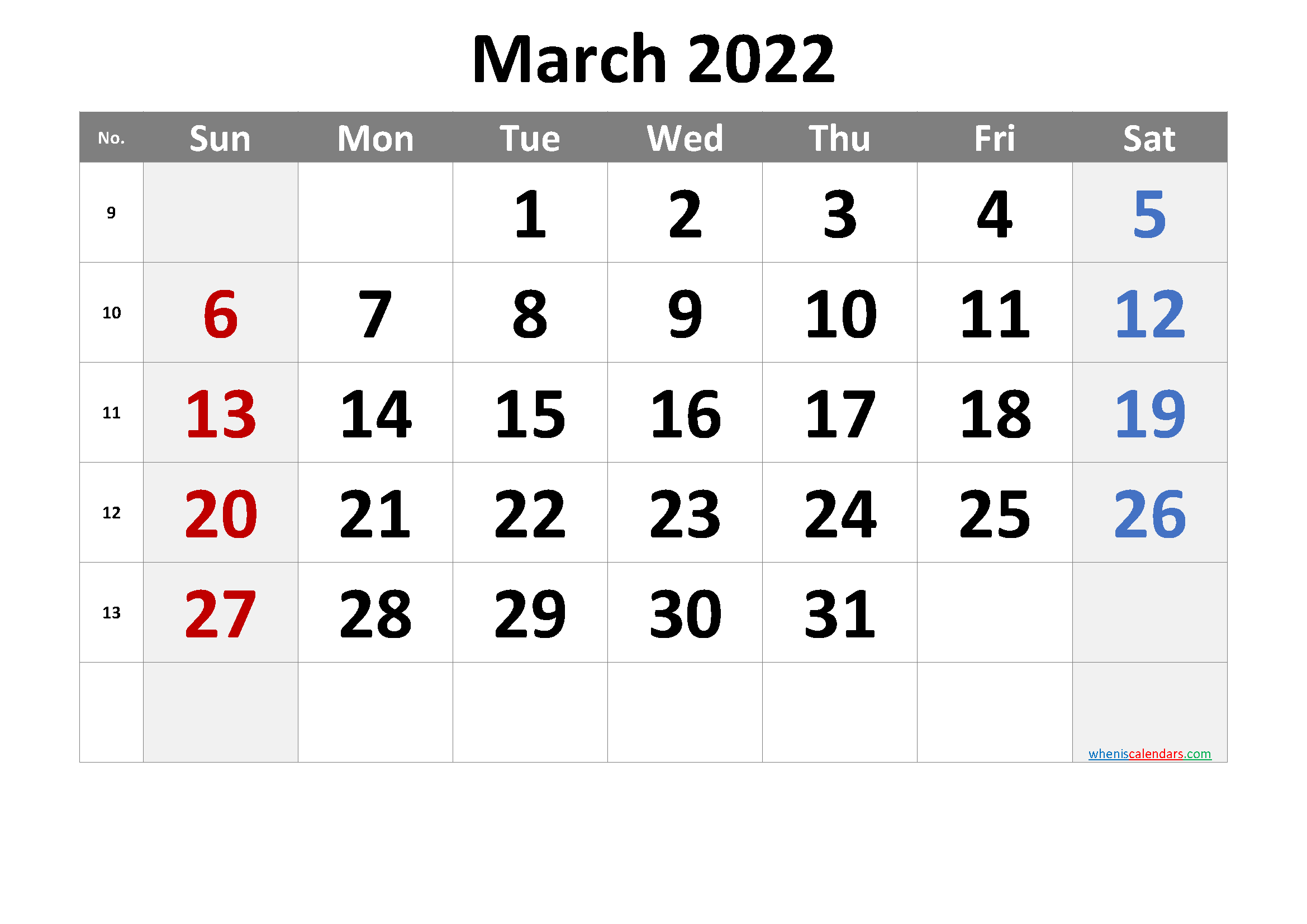March 2022 Printable Calendar with Week Numbers