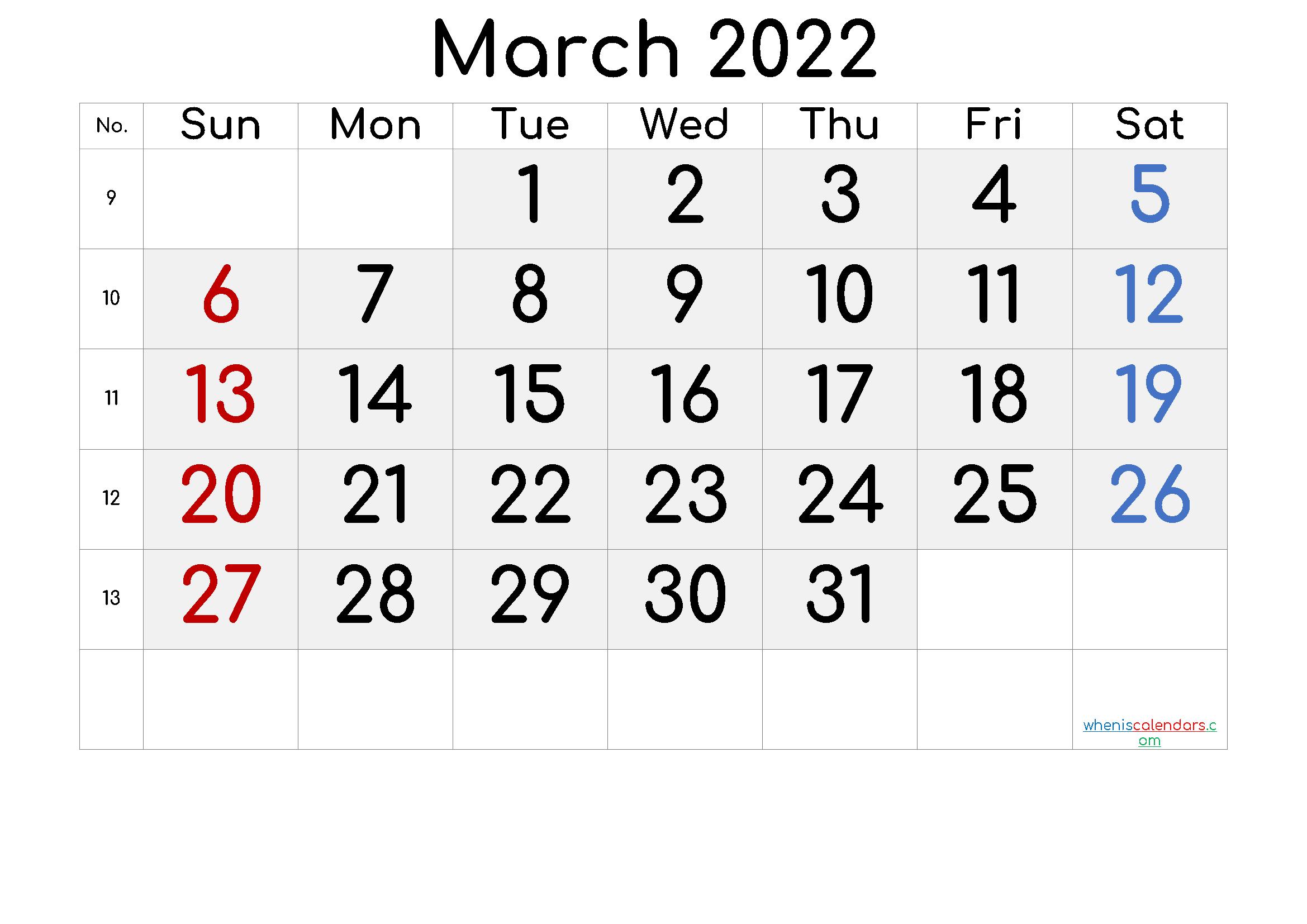 2022 March Free Printable Calendar Free Premium