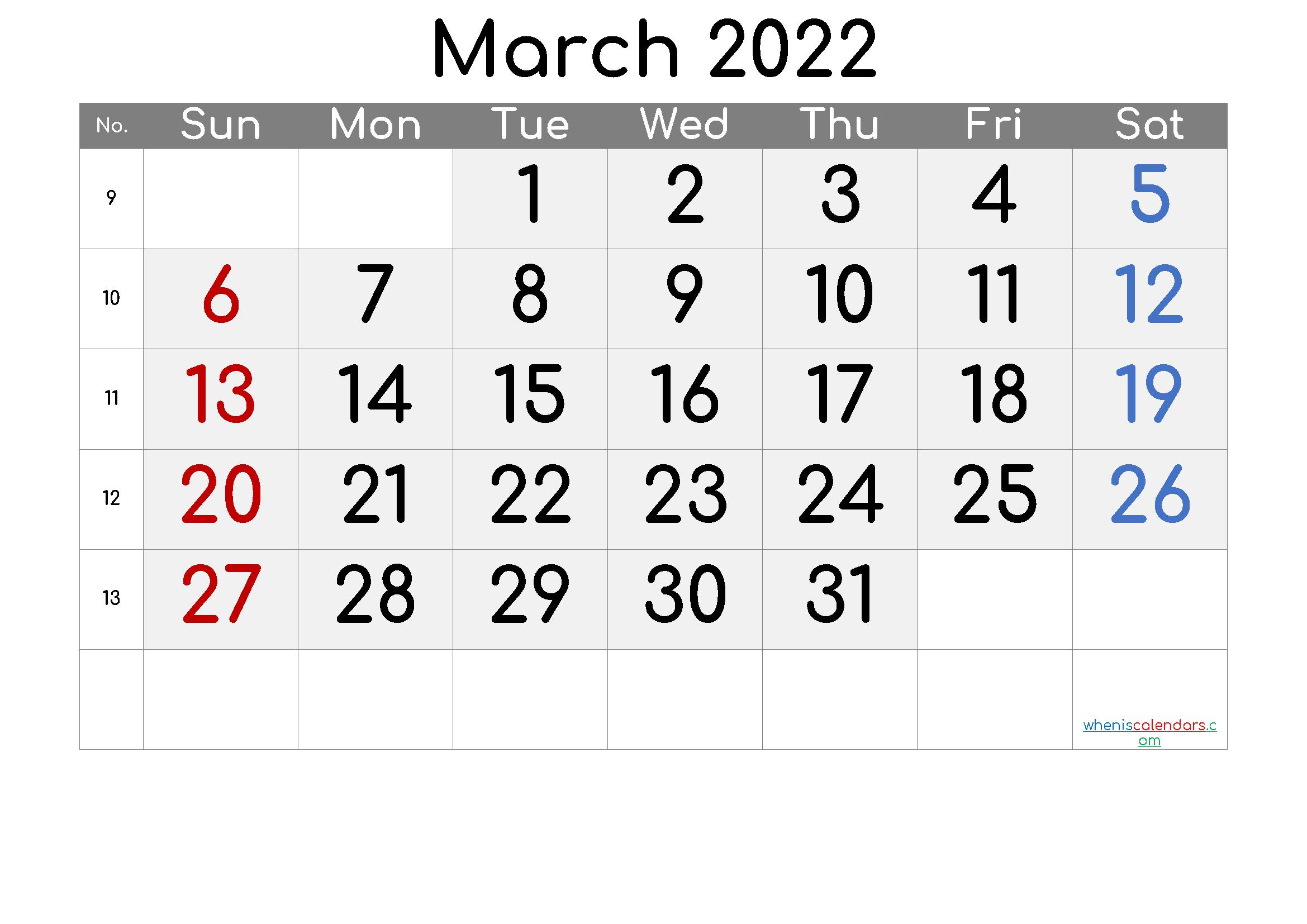 Free Printable Calendar 2022 March - 6 Templates - Free ...