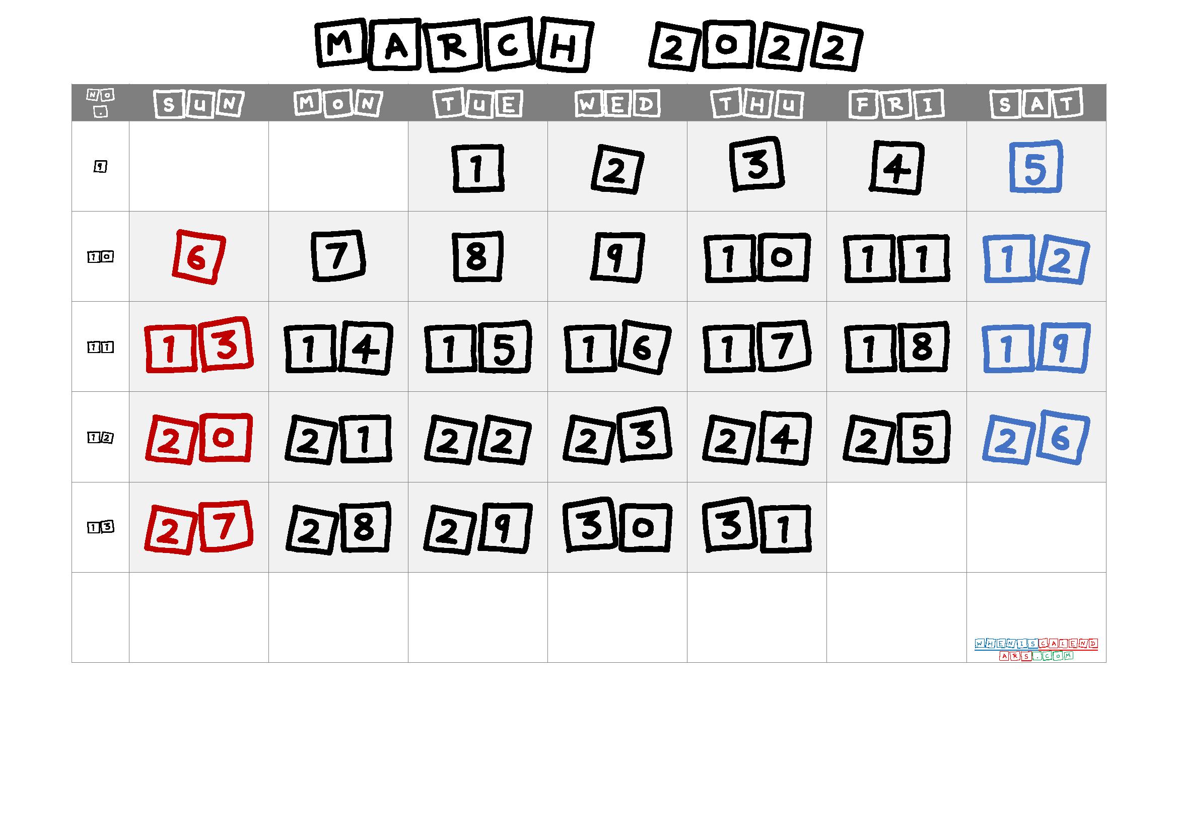 Printable March 2022 Calendar
