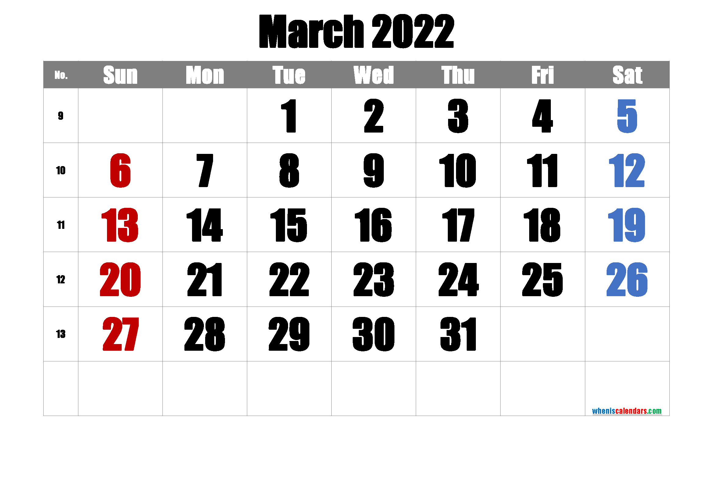 Printable March 2022 Calendar with Week Numbers