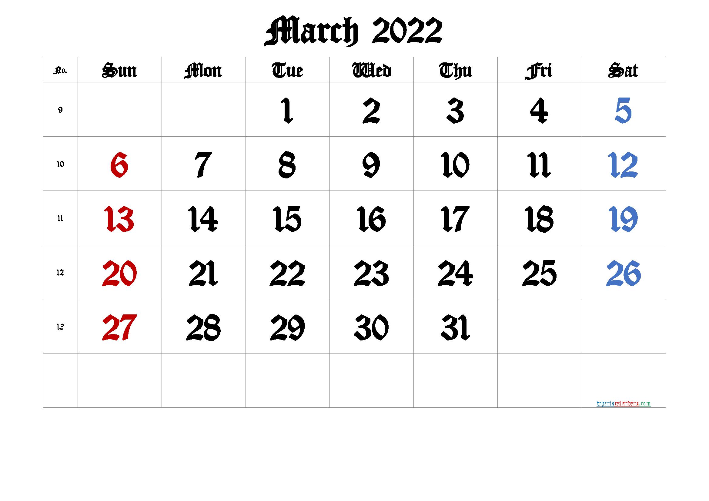 March 2022 Printable Calendar with Week Numbers