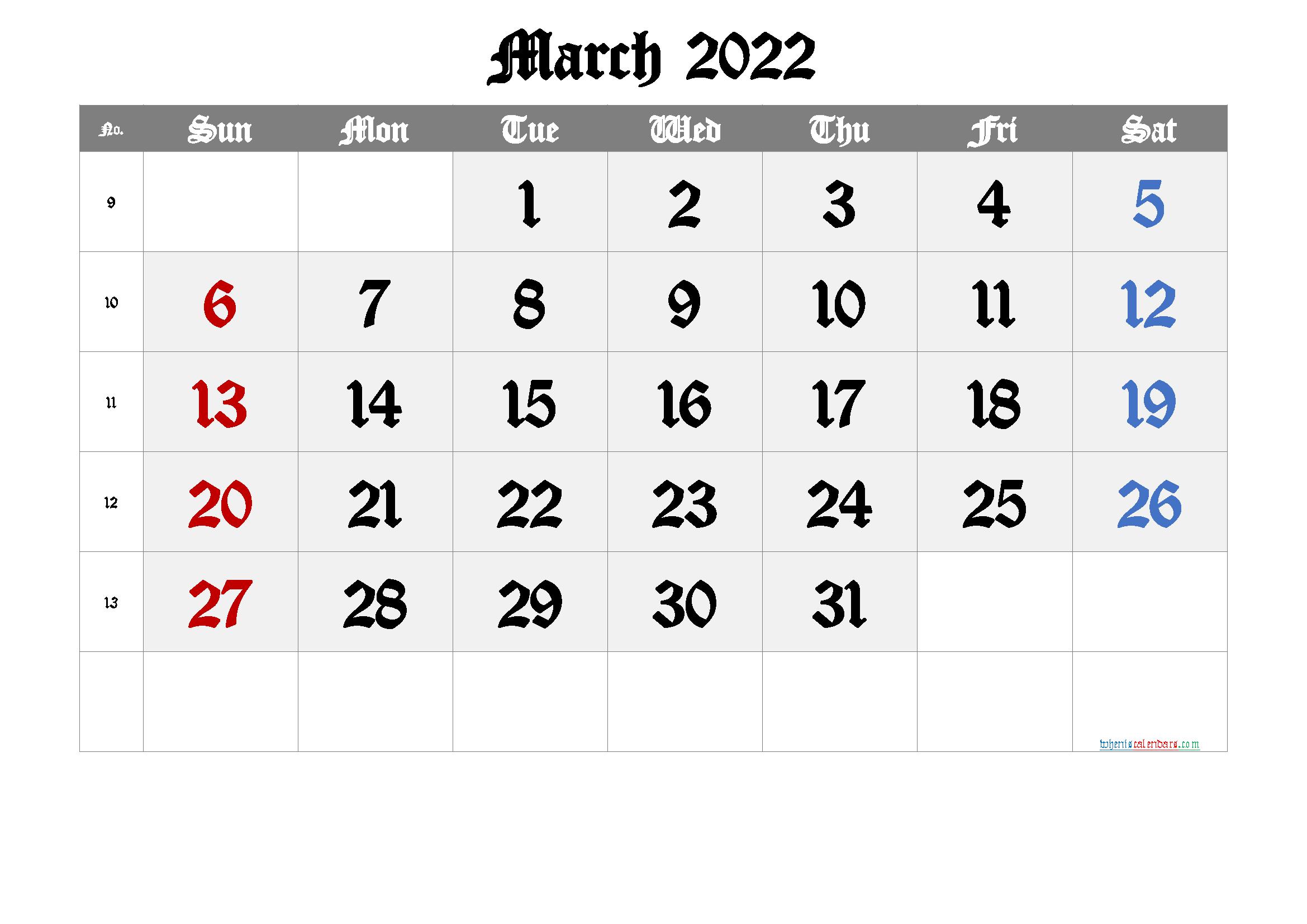 Free March 2022 Calendar