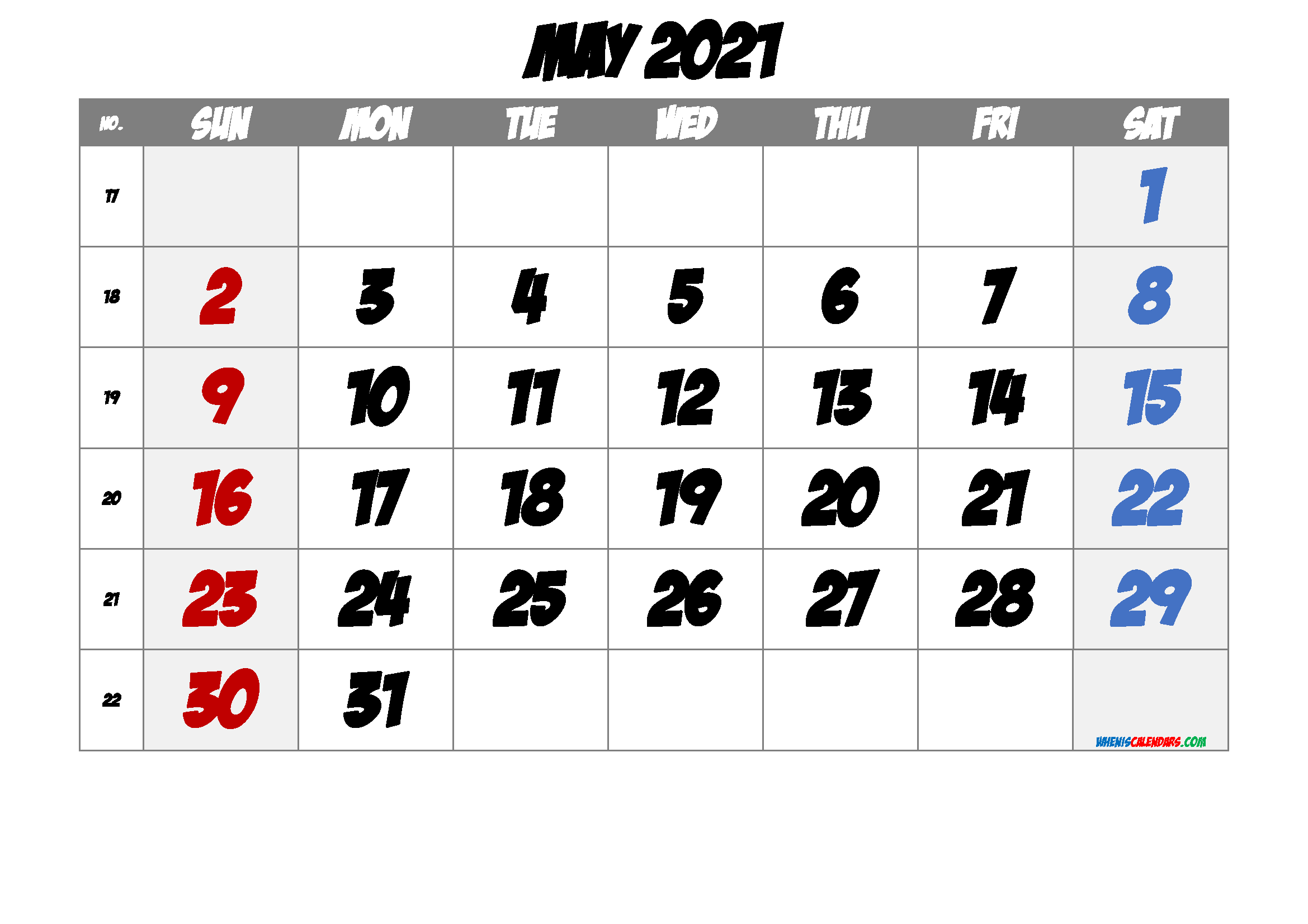 May 2021 Printable Calendar with Week Numbers