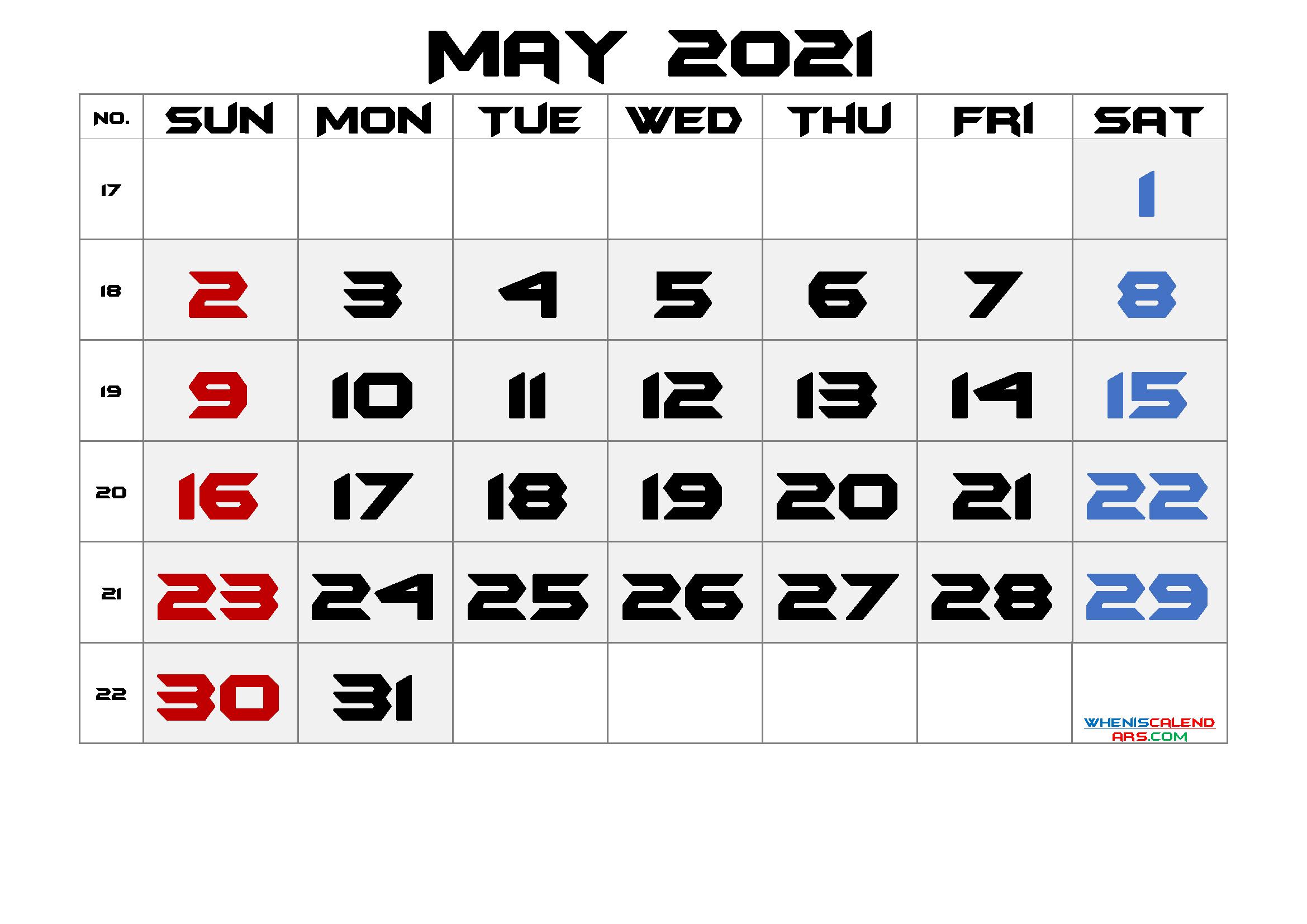 Printable May 2021 Calendar with Week Numbers