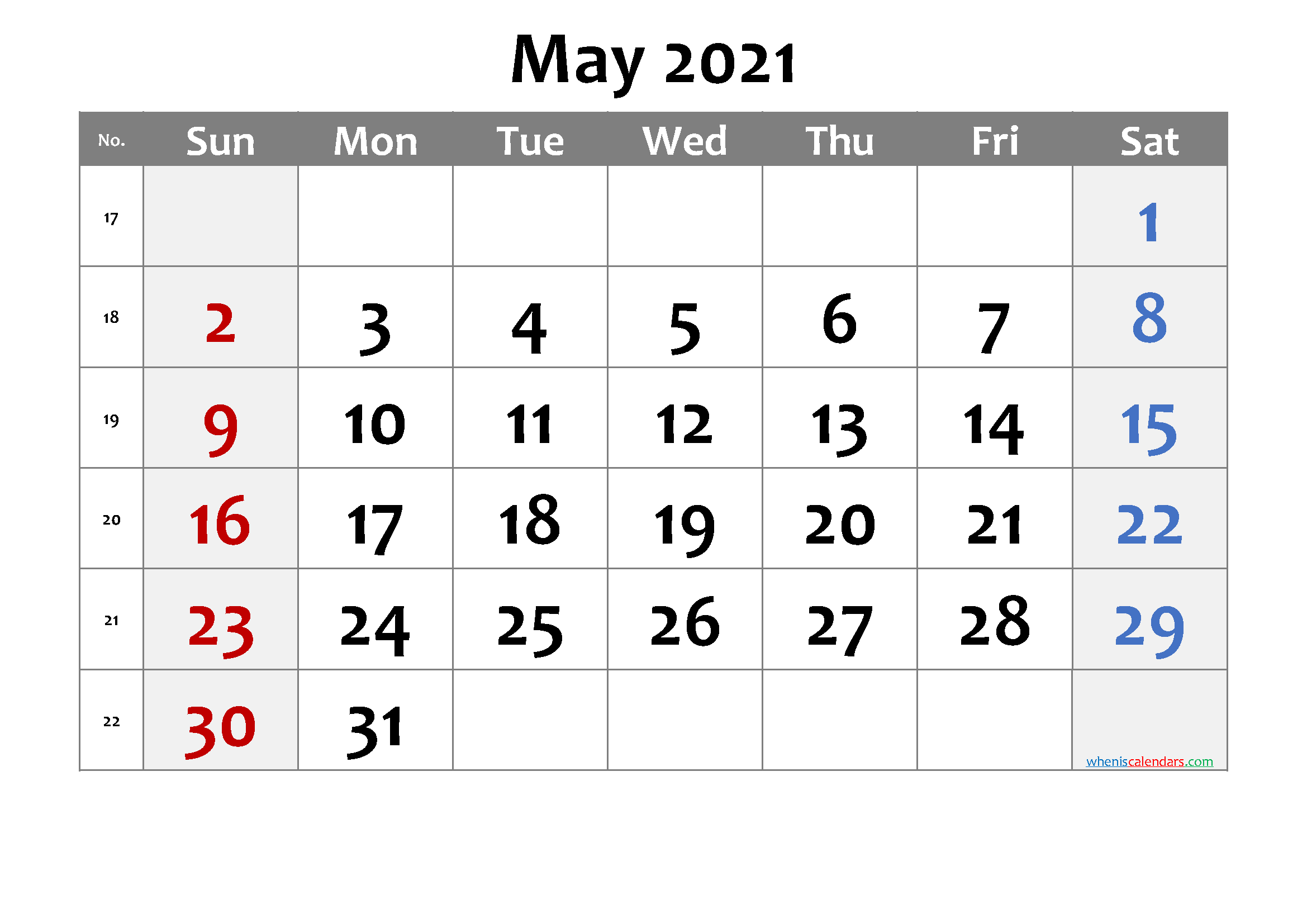 Printable Calendar May 2021