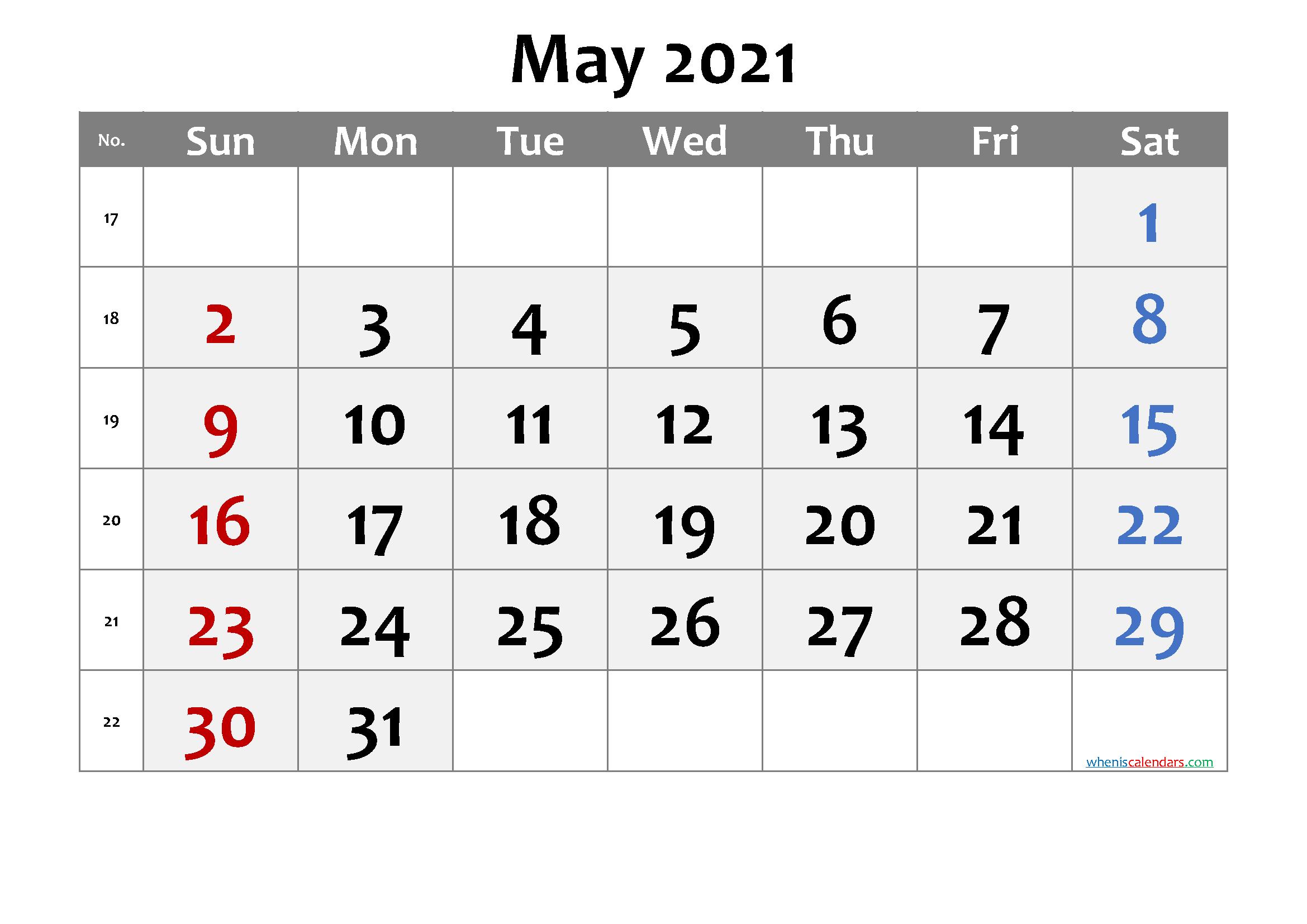 May 2021 Printable Calendar with Week Numbers