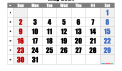 Free May 2021 Calendar with Week Numbers