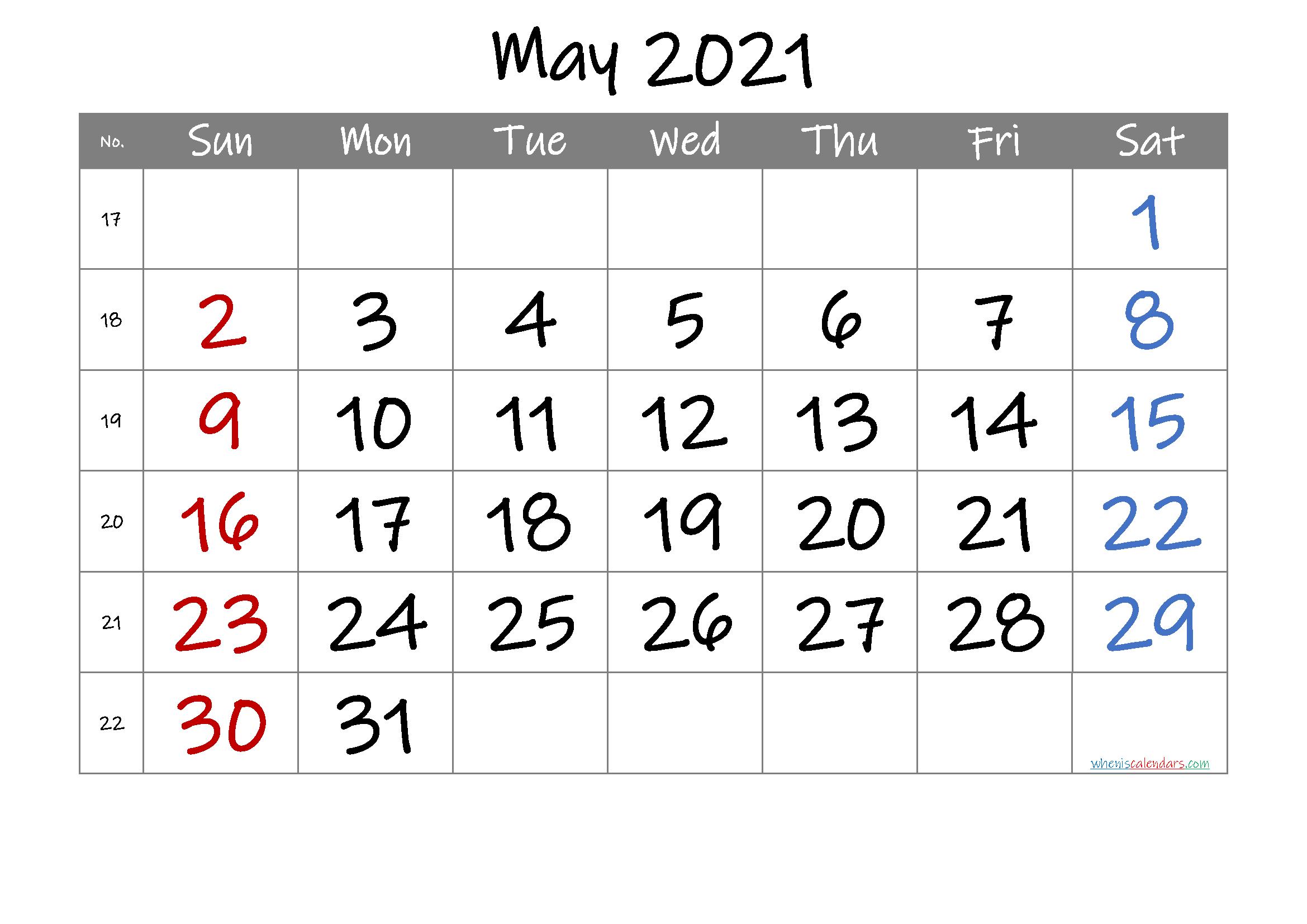 2021 May Free Printable Calendar