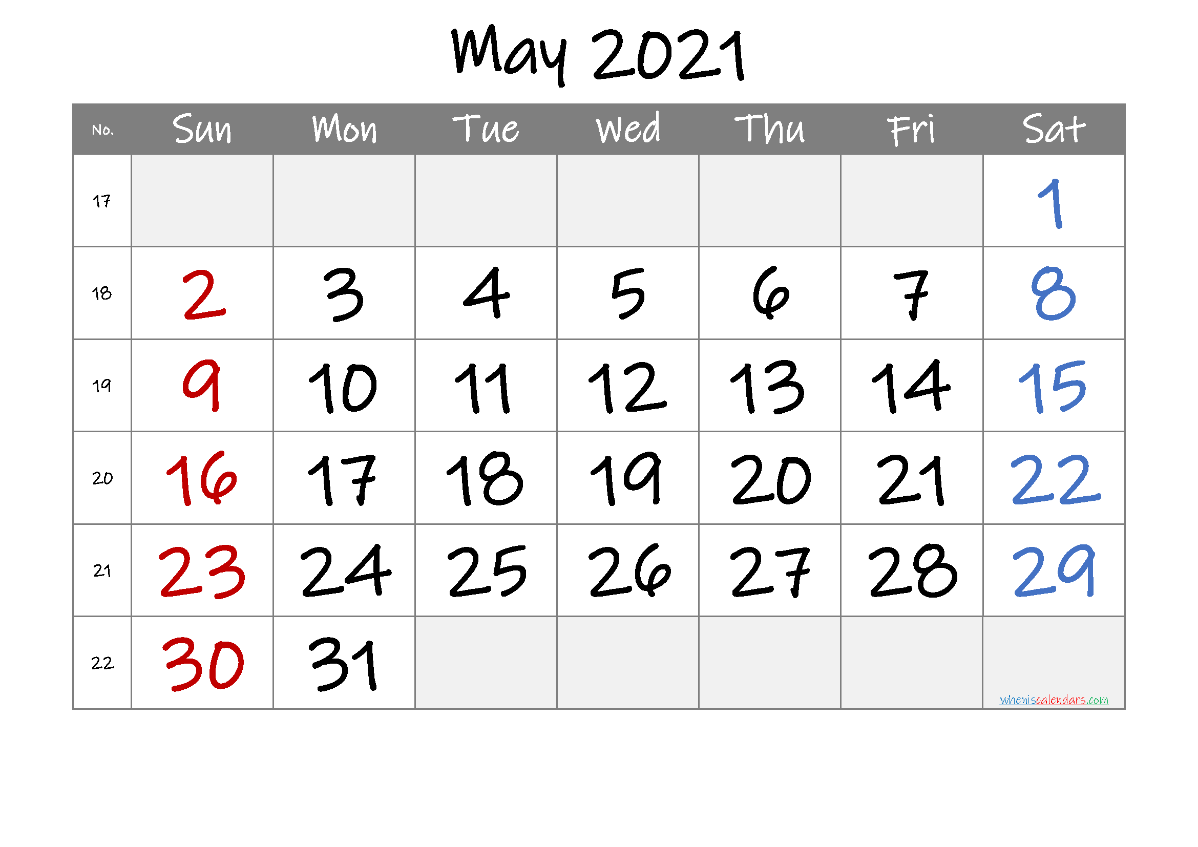 Printable May 2021 Calendar with Week Numbers