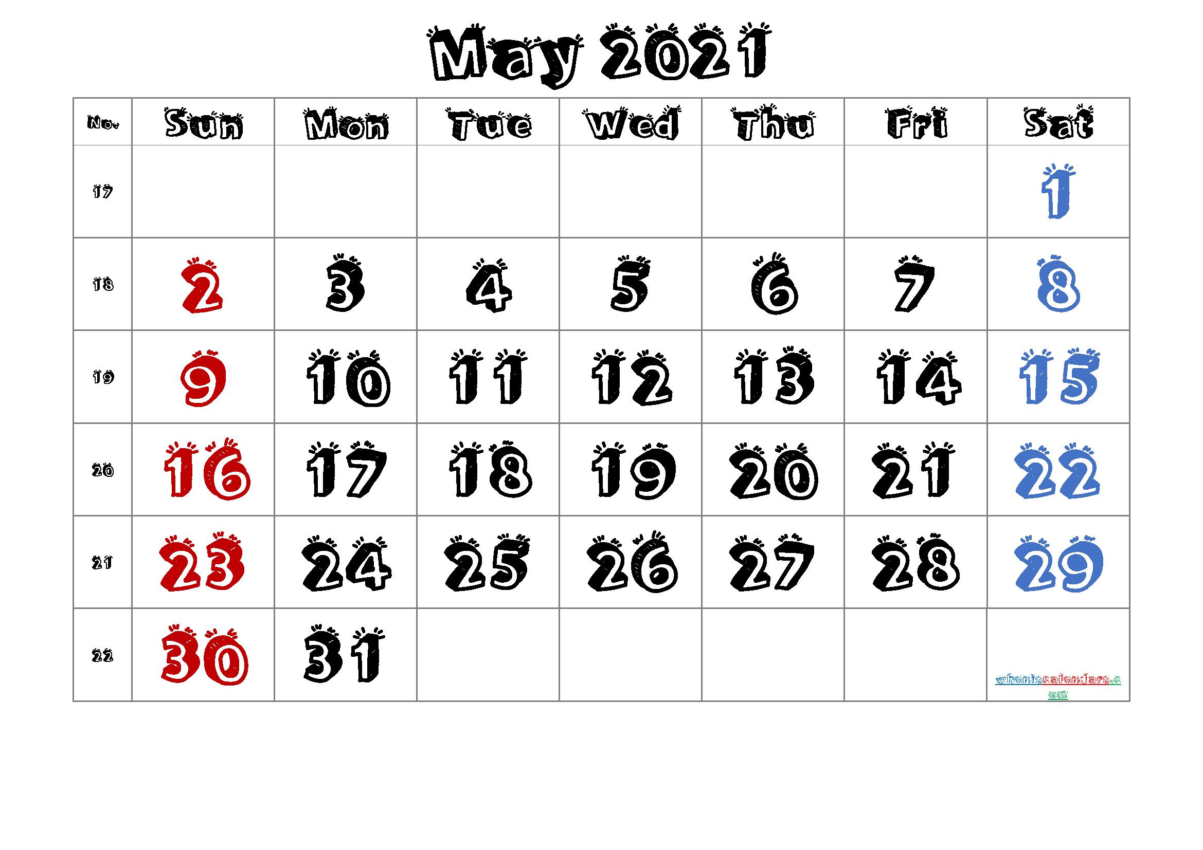 Free Printable Calendar 2021 May