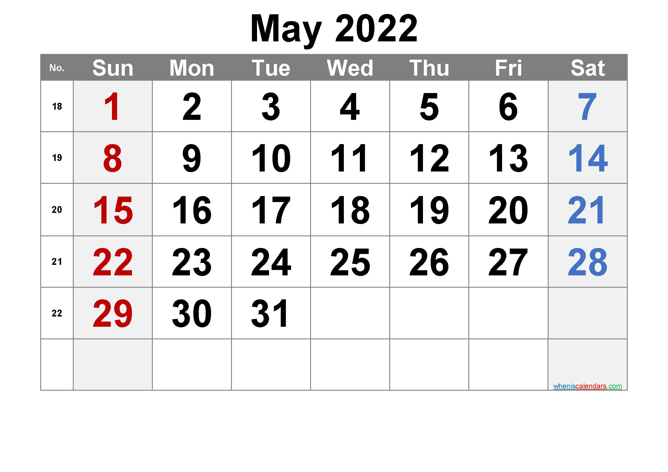 Free May 2022 Calendar with Week Numbers