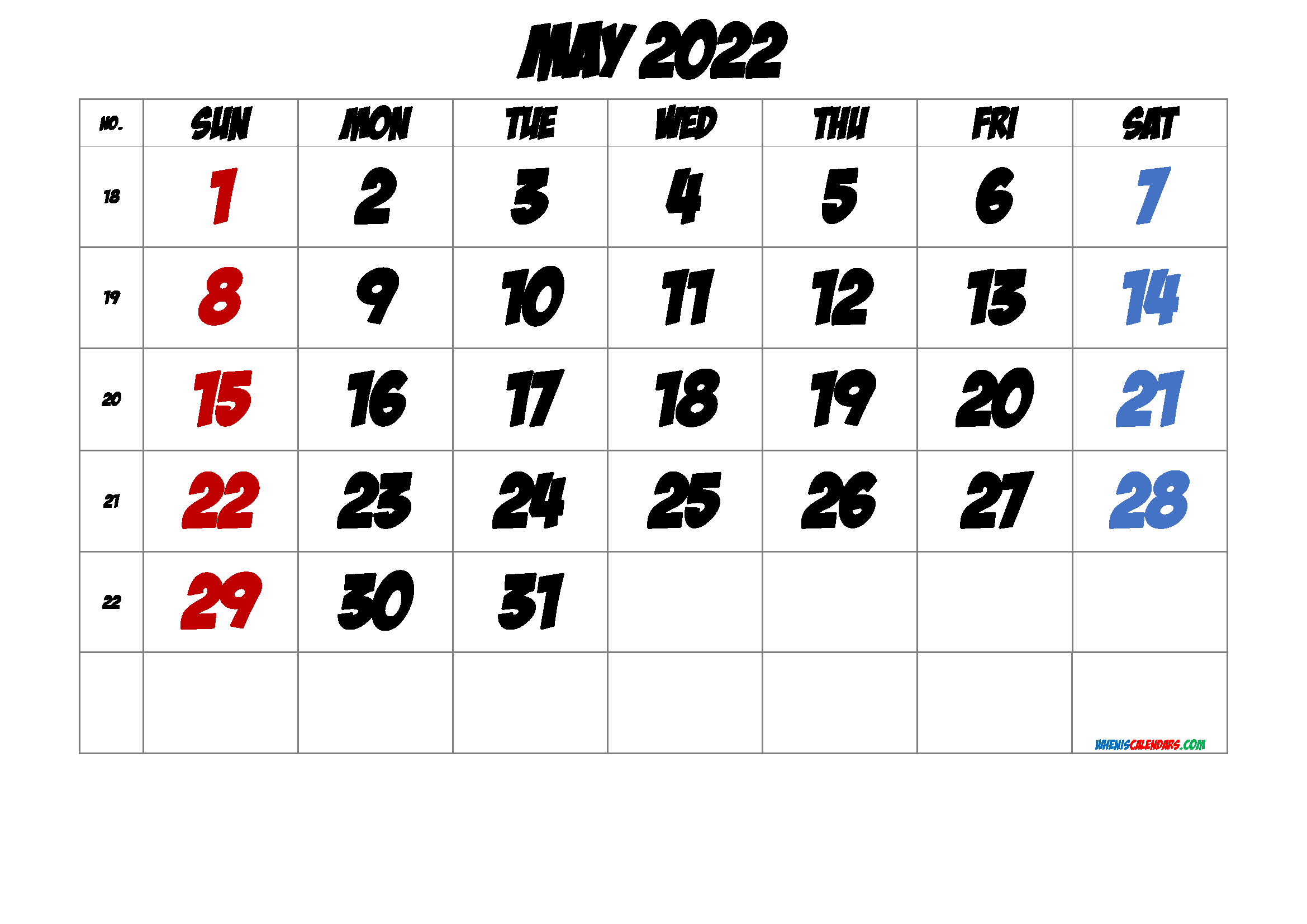 Free May 2022 Calendar with Week Numbers