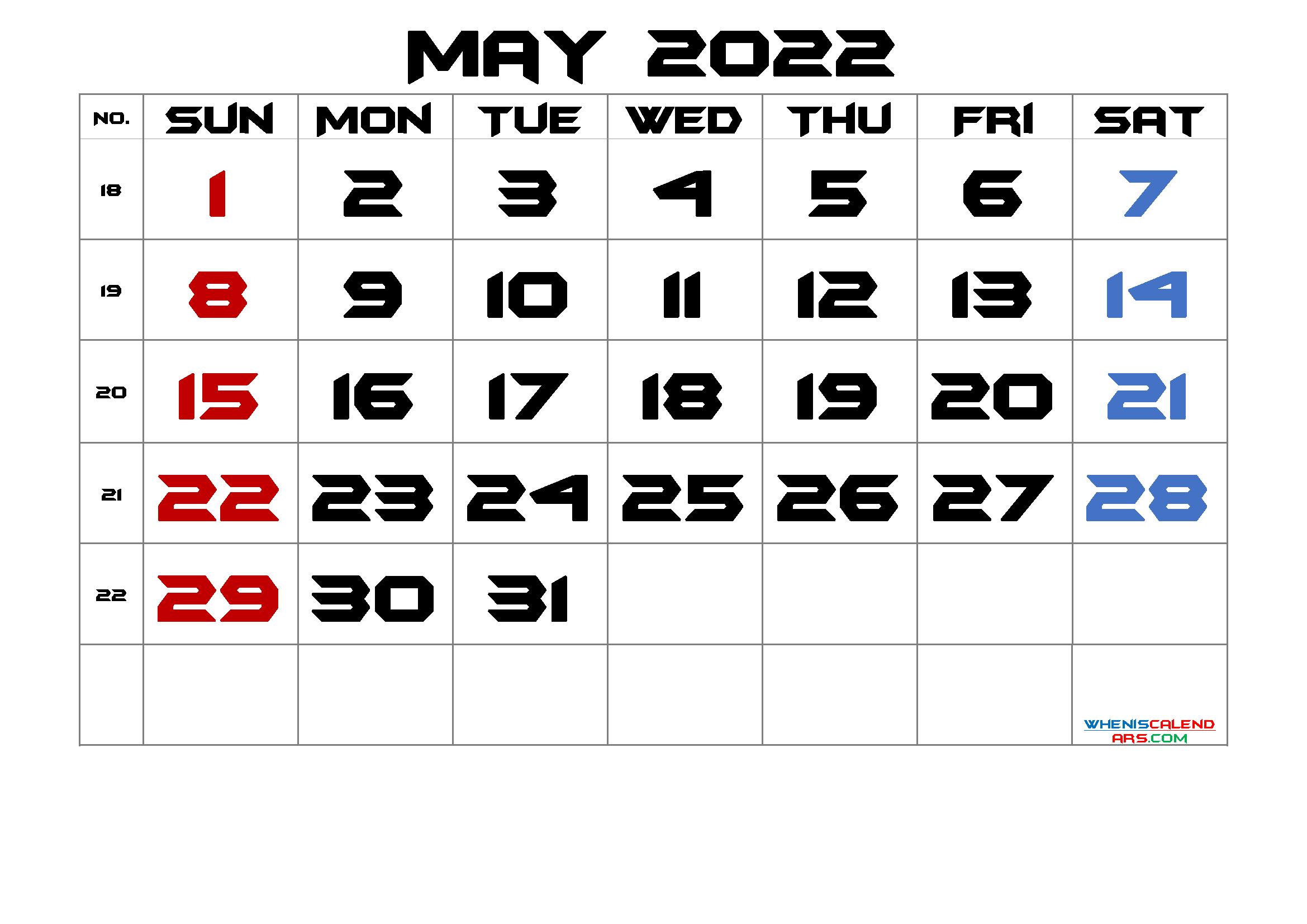 May 2022 Printable Calendar with Week Numbers