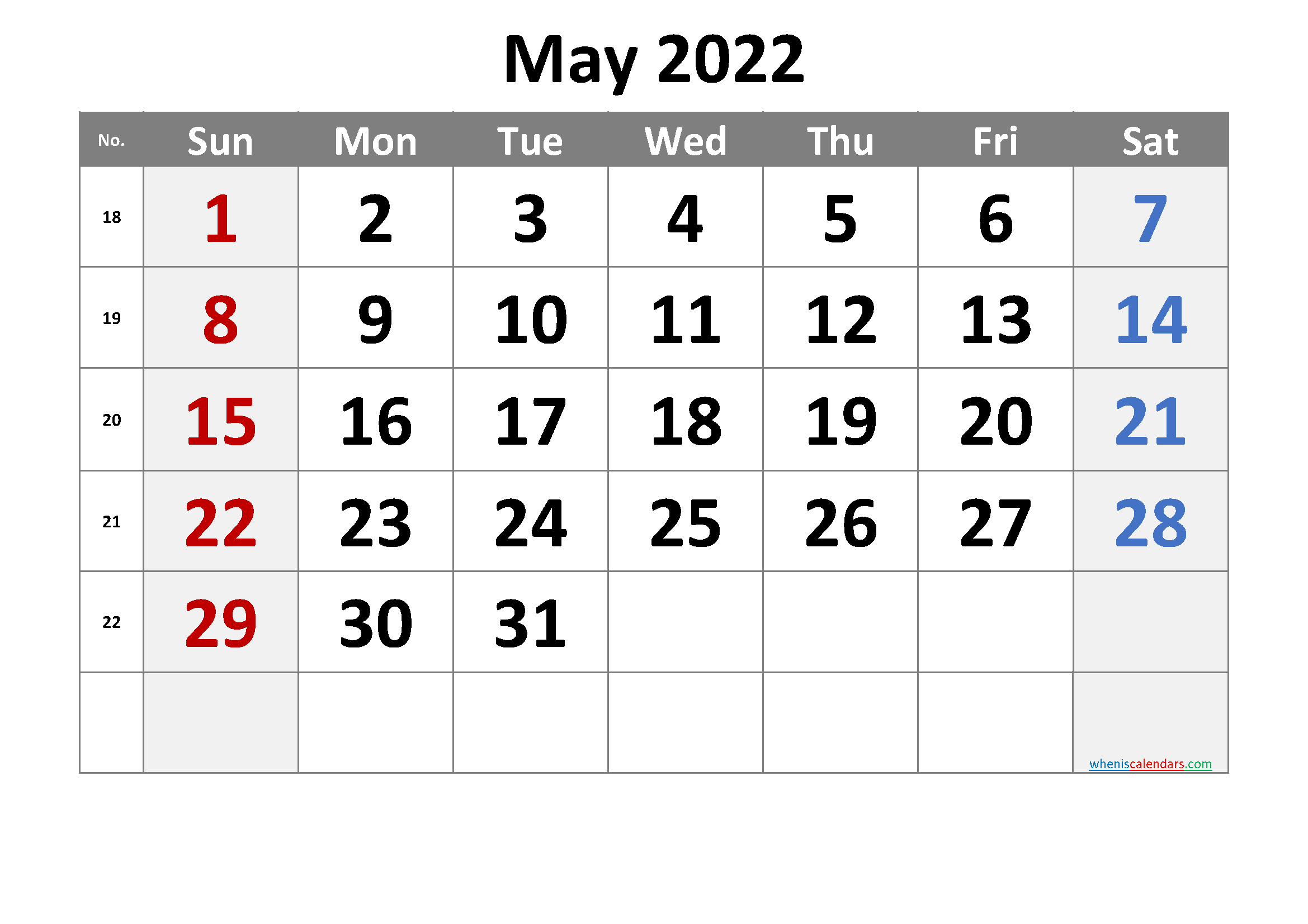 May 2022 Printable Calendar with Week Numbers