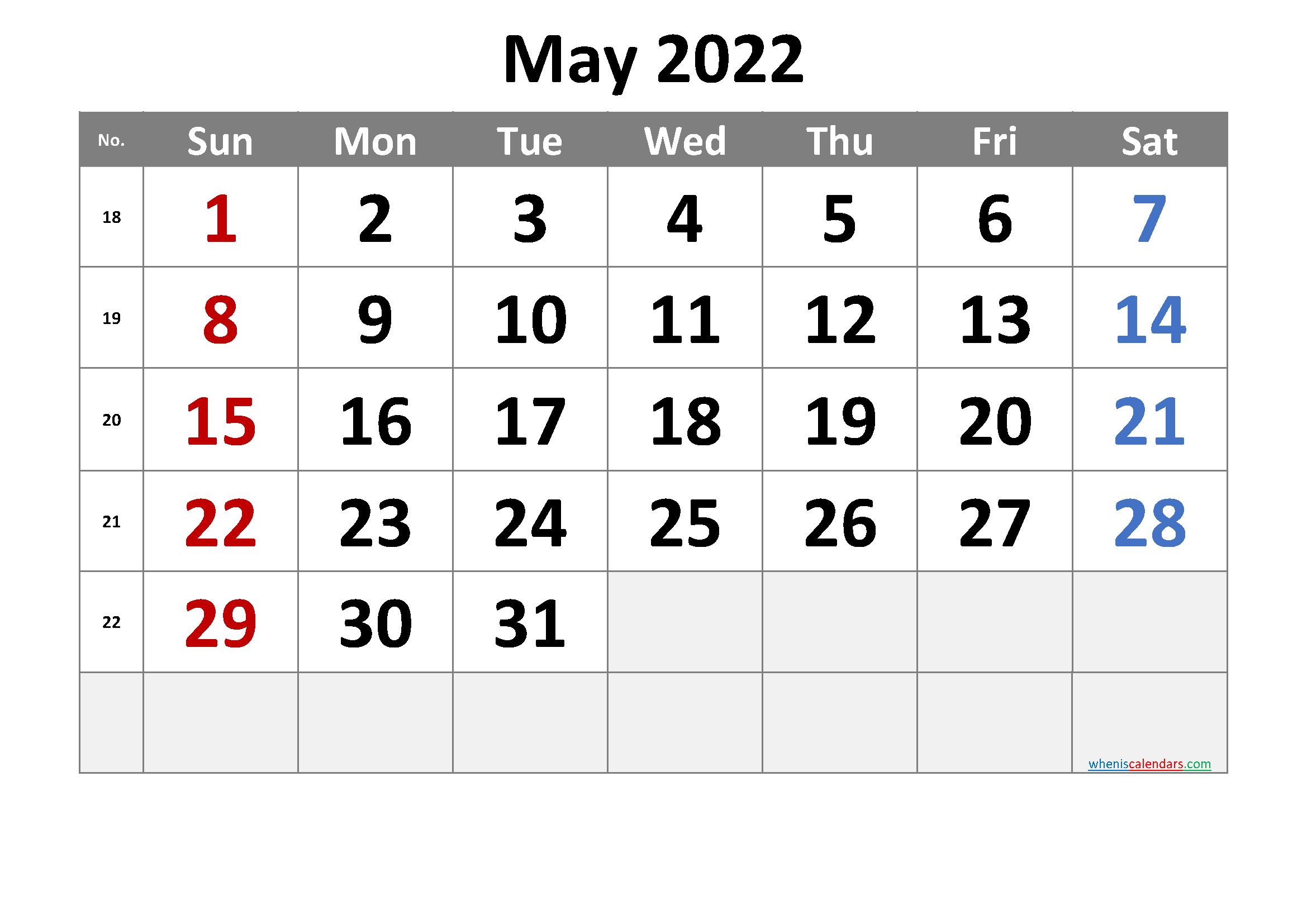 Printable May 2022 Calendar with Week Numbers