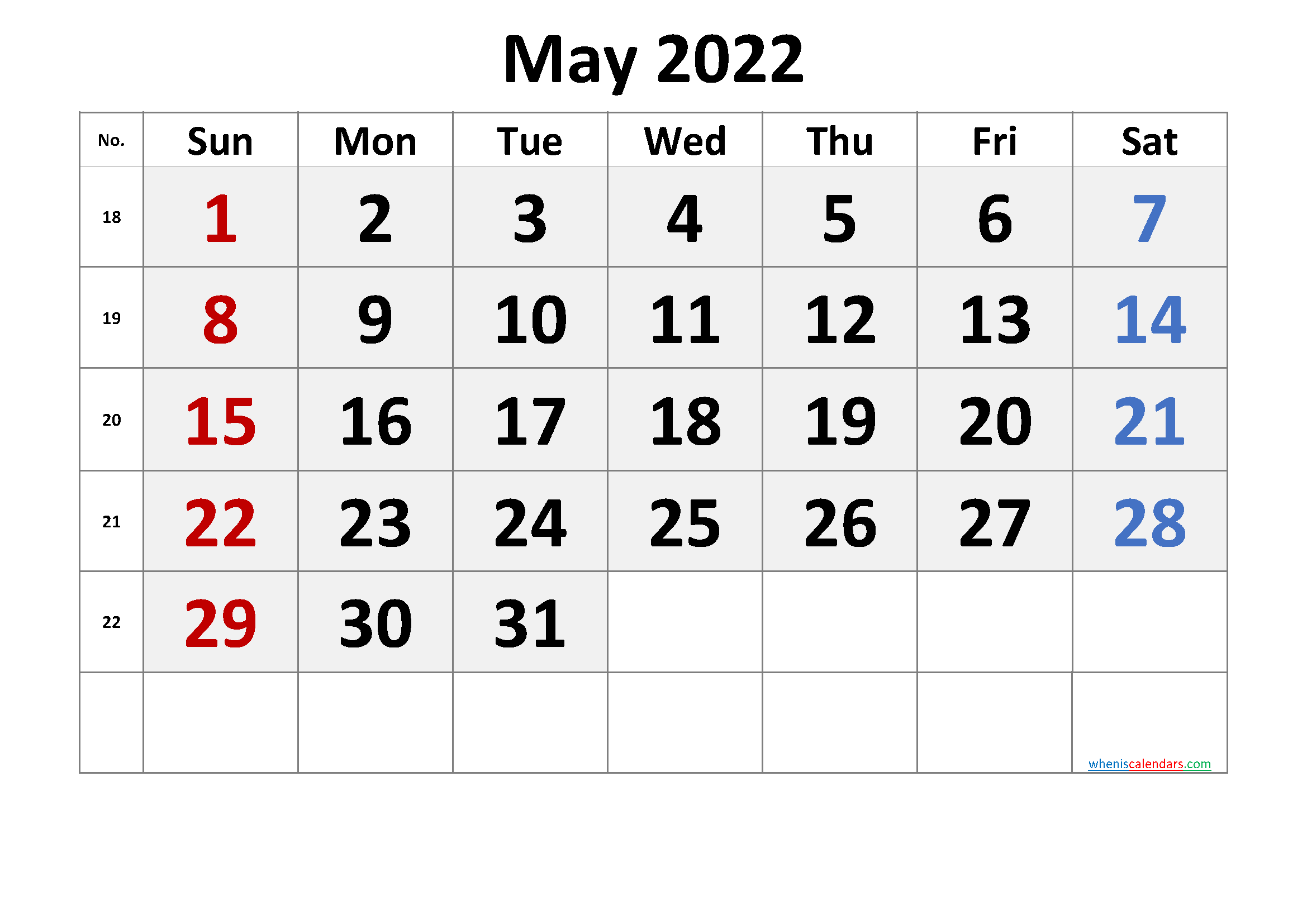 Free Printable May 2022 Calendar with Week Numbers