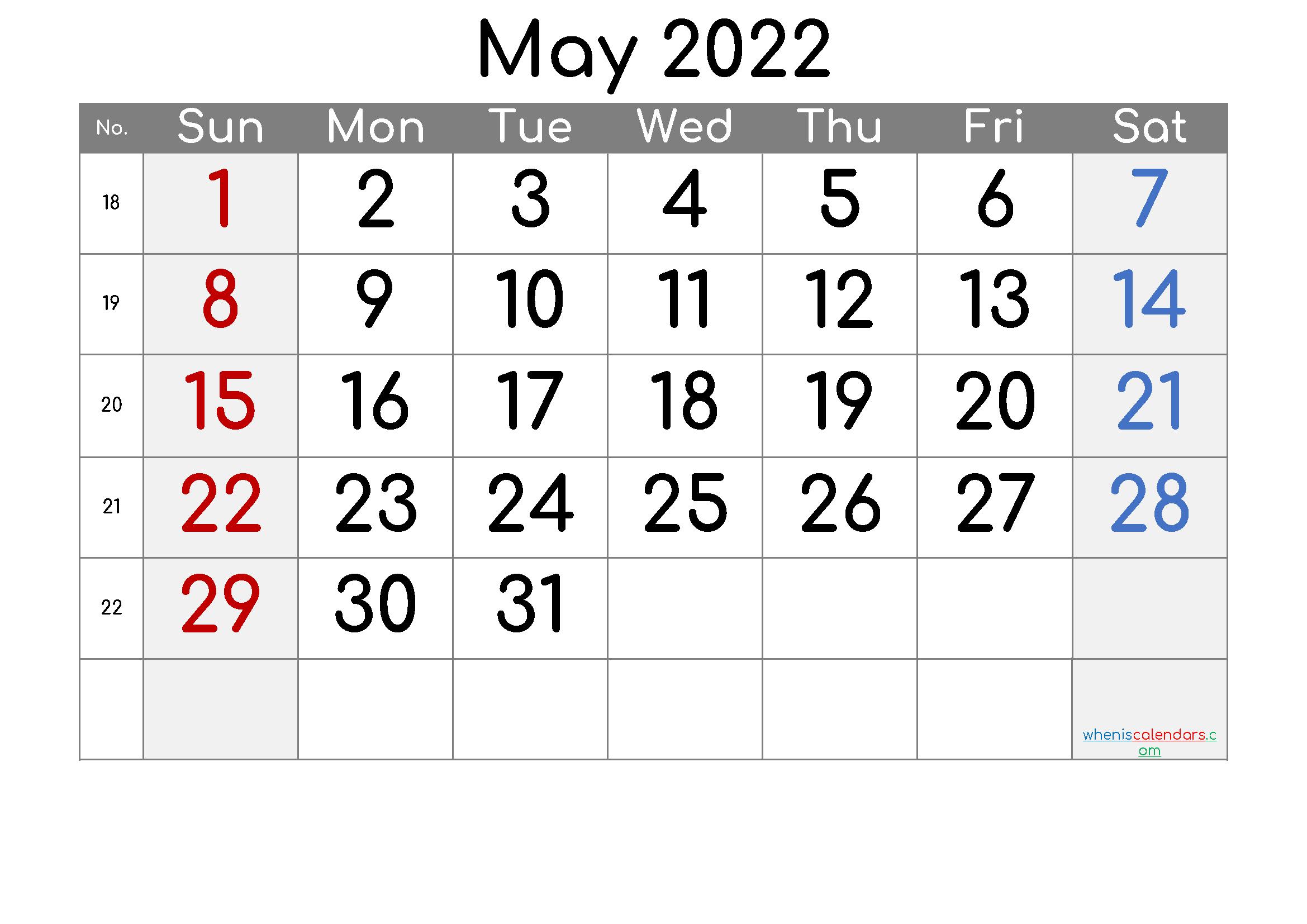 Free Printable Calendar 2022 May