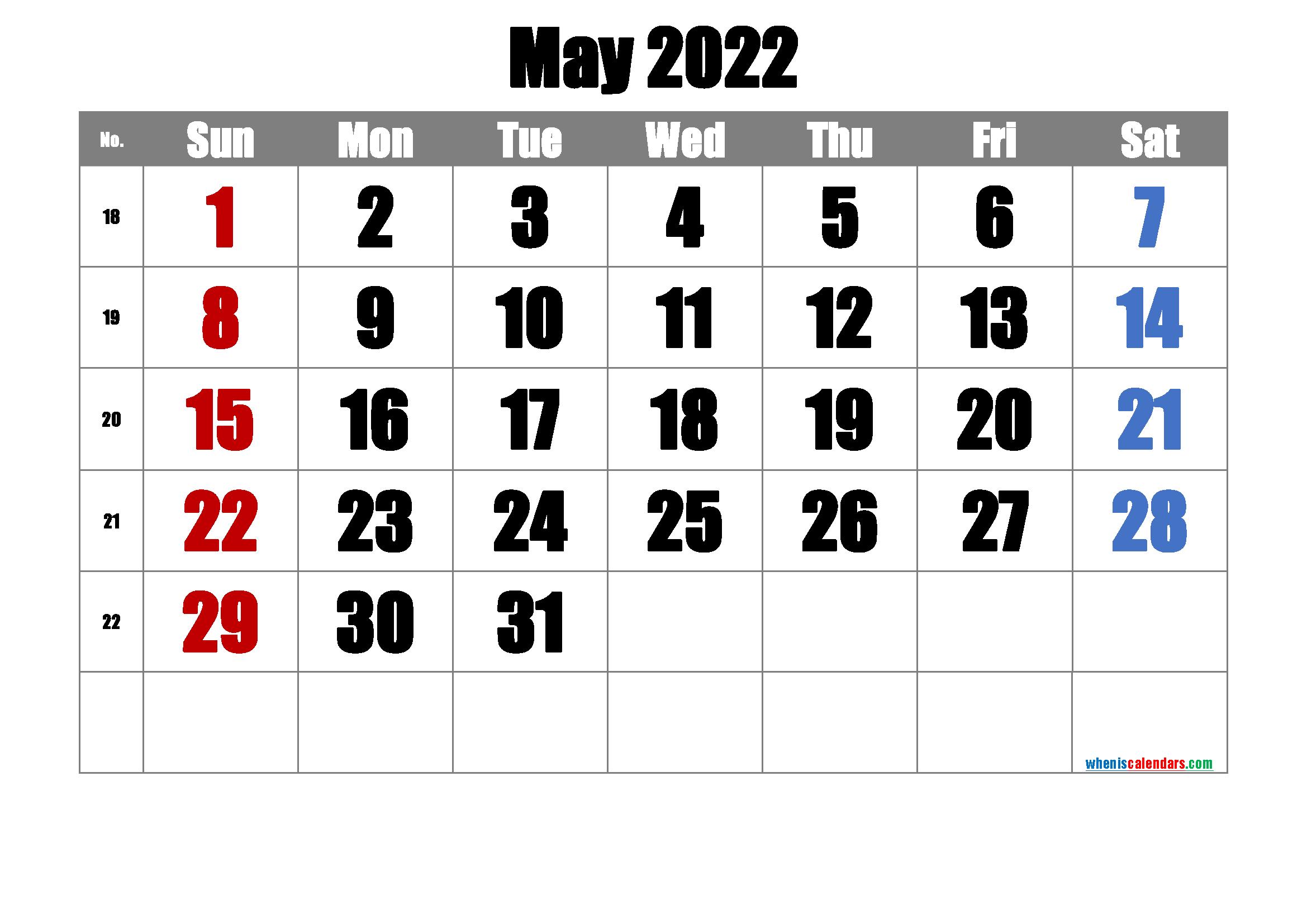Printable May 2022 Calendar