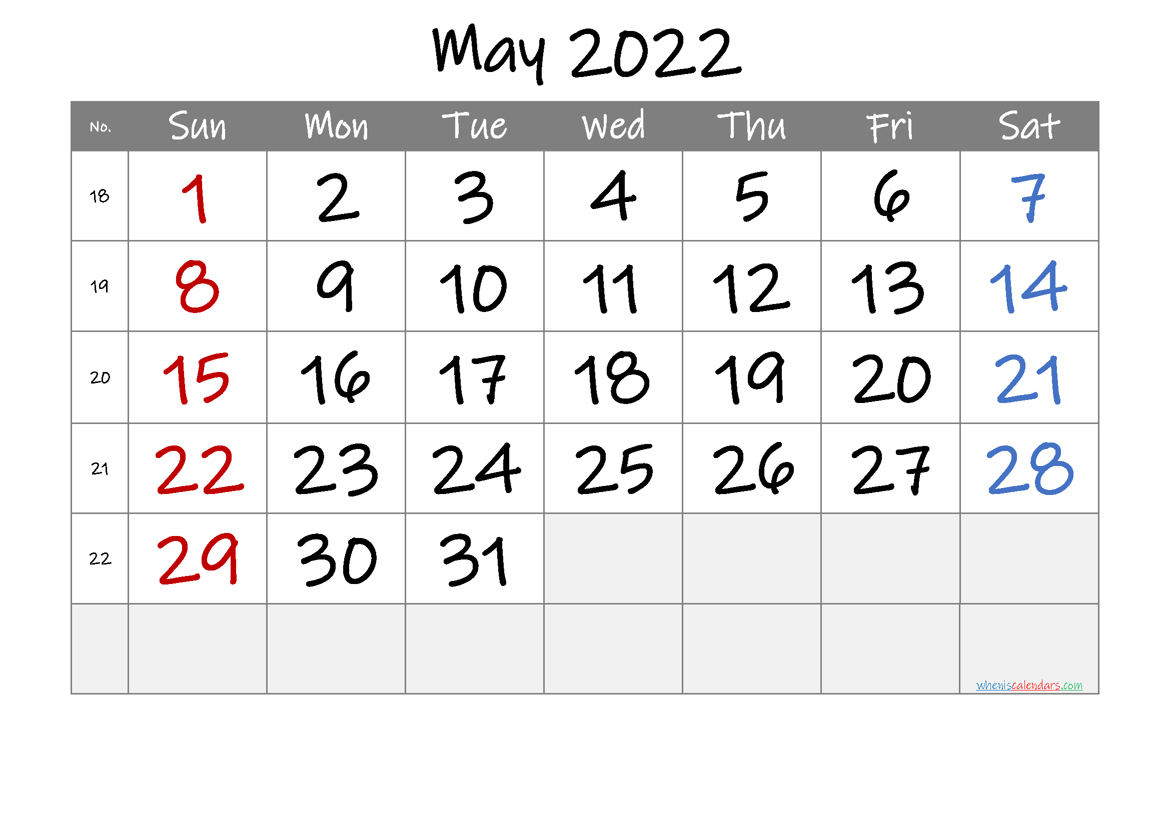 Printable May 2022 Calendar with Week Numbers
