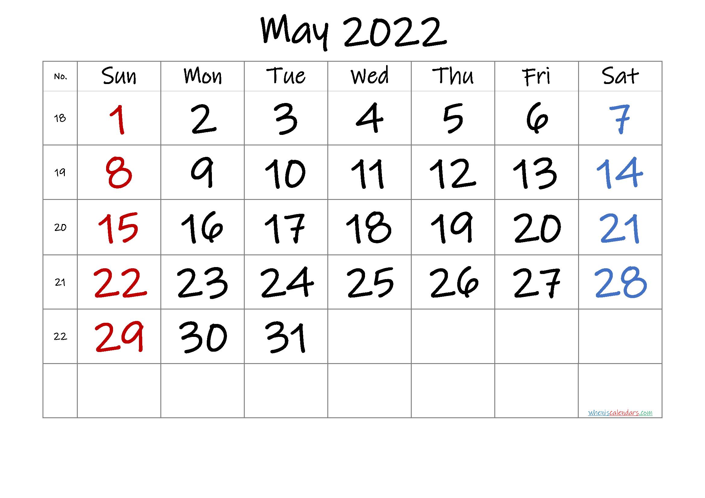 Free May 2022 Calendar