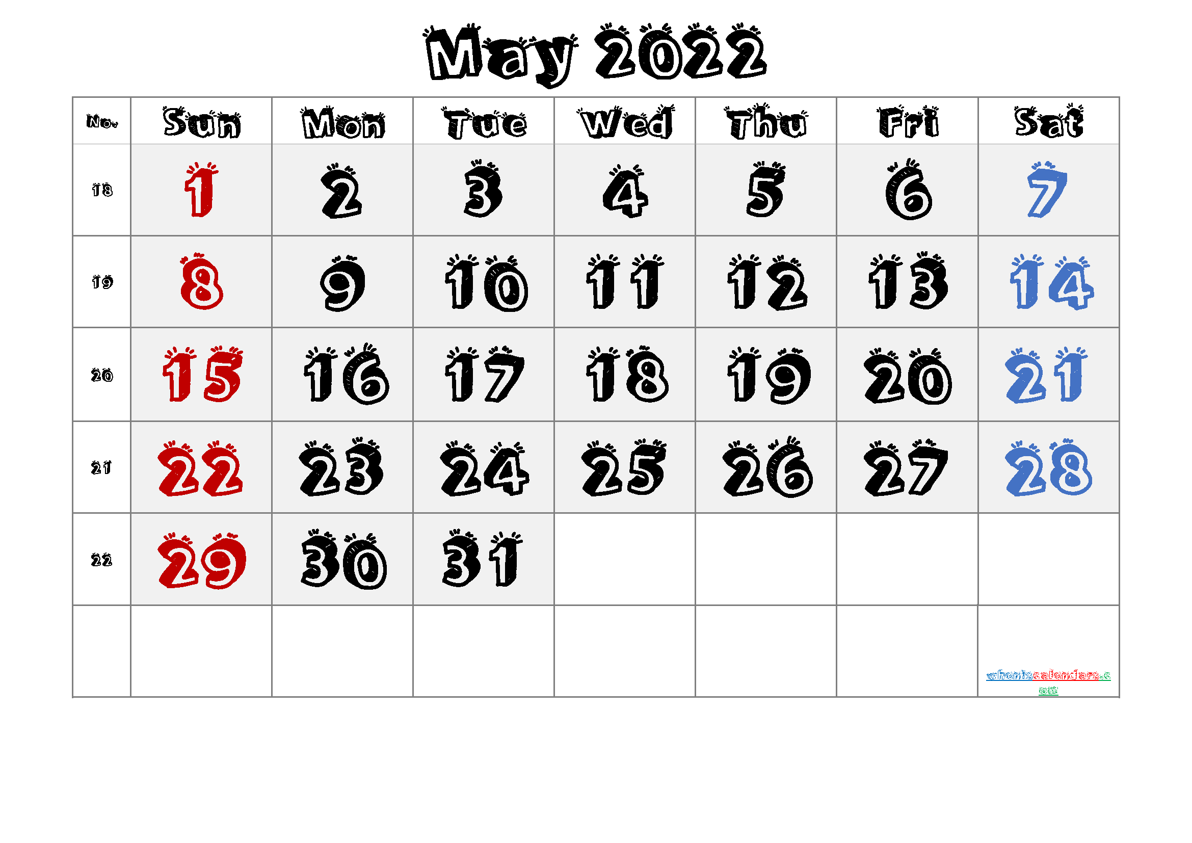 2022 May Free Printable Calendar