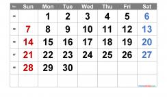 Printable November 2021 Calendar with Week Numbers