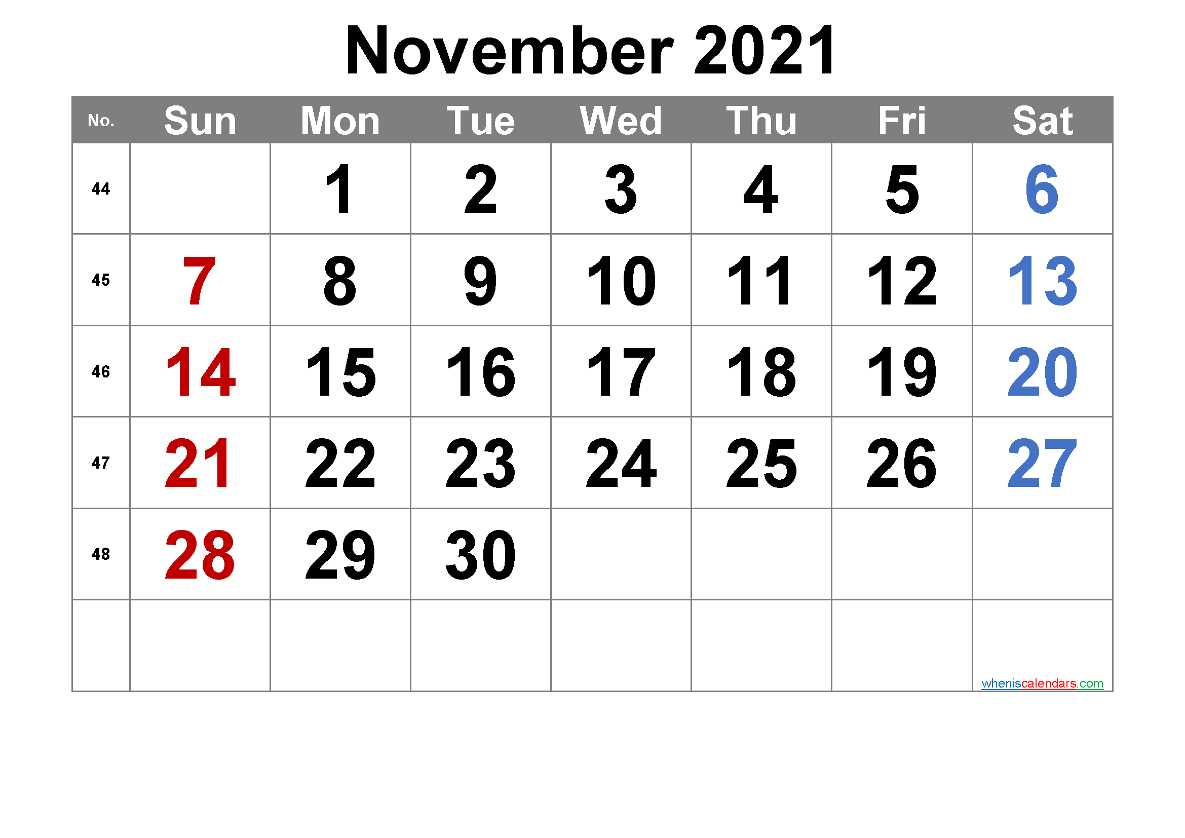 Printable November 2021 Calendar with Week Numbers
