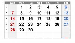 Free November 2021 Calendar with Week Numbers