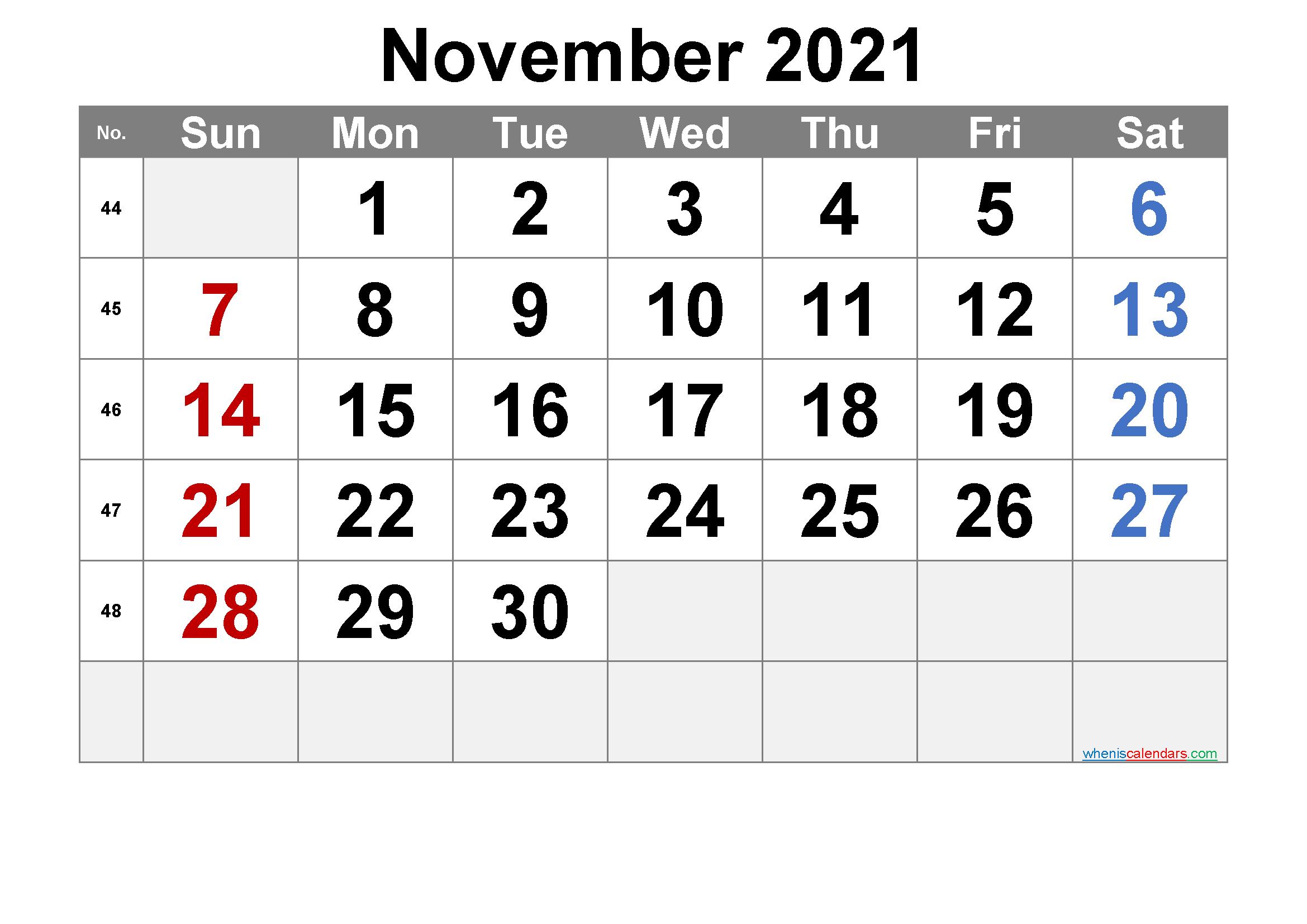 Free Printable November 2021 Calendar