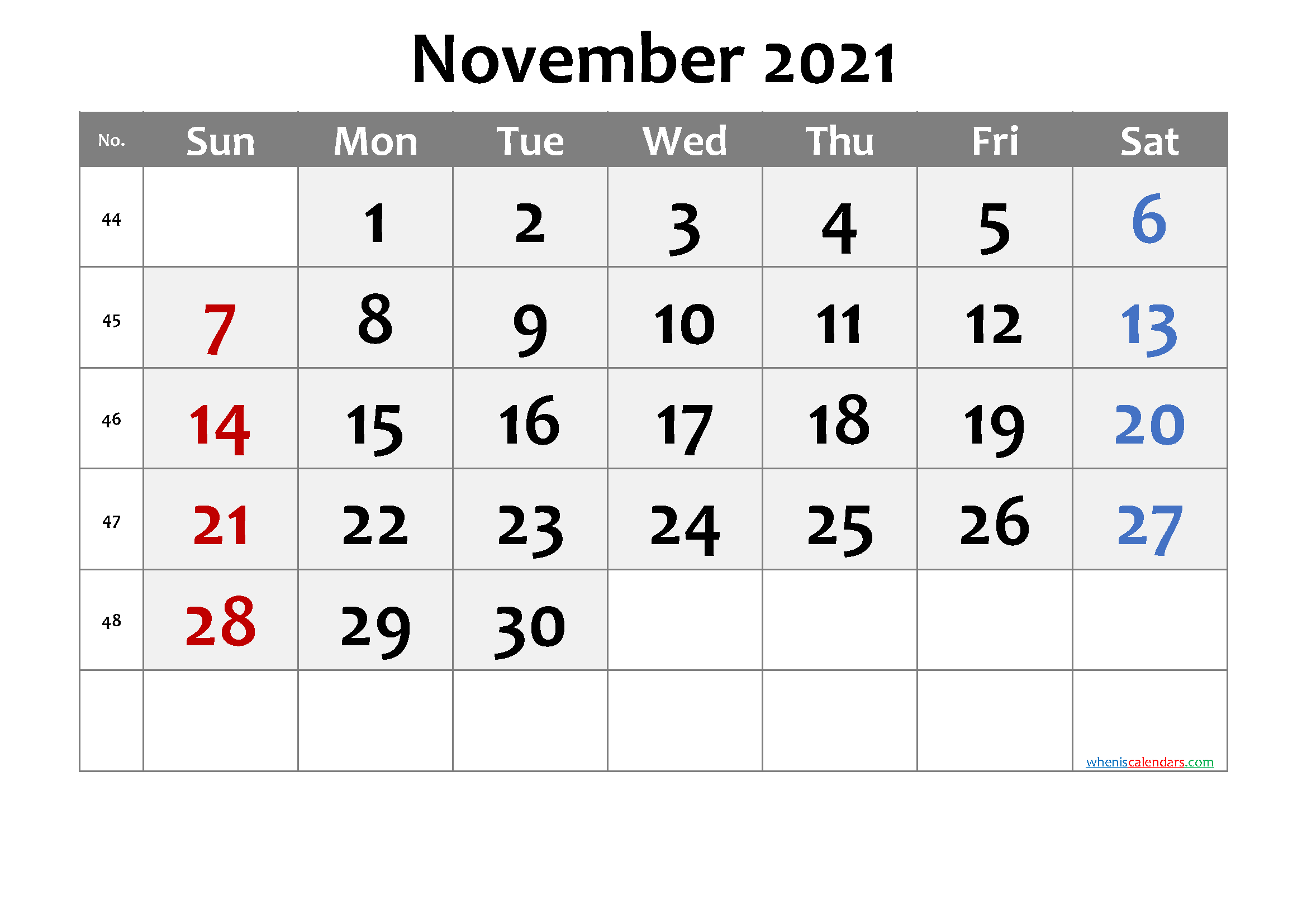 November 2021 Printable Calendar with Week Numbers