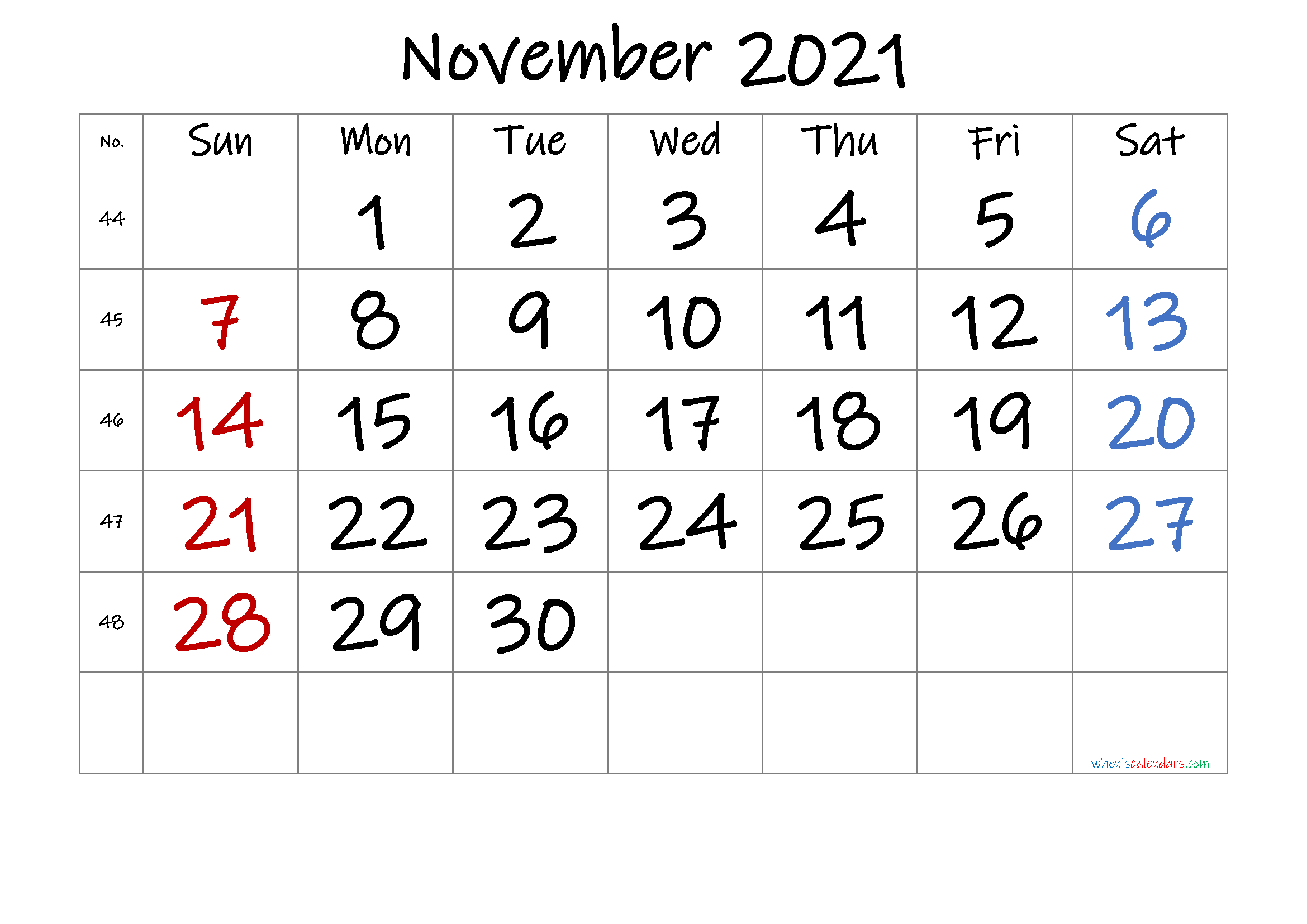 Free November 2021 Calendar with Week Numbers