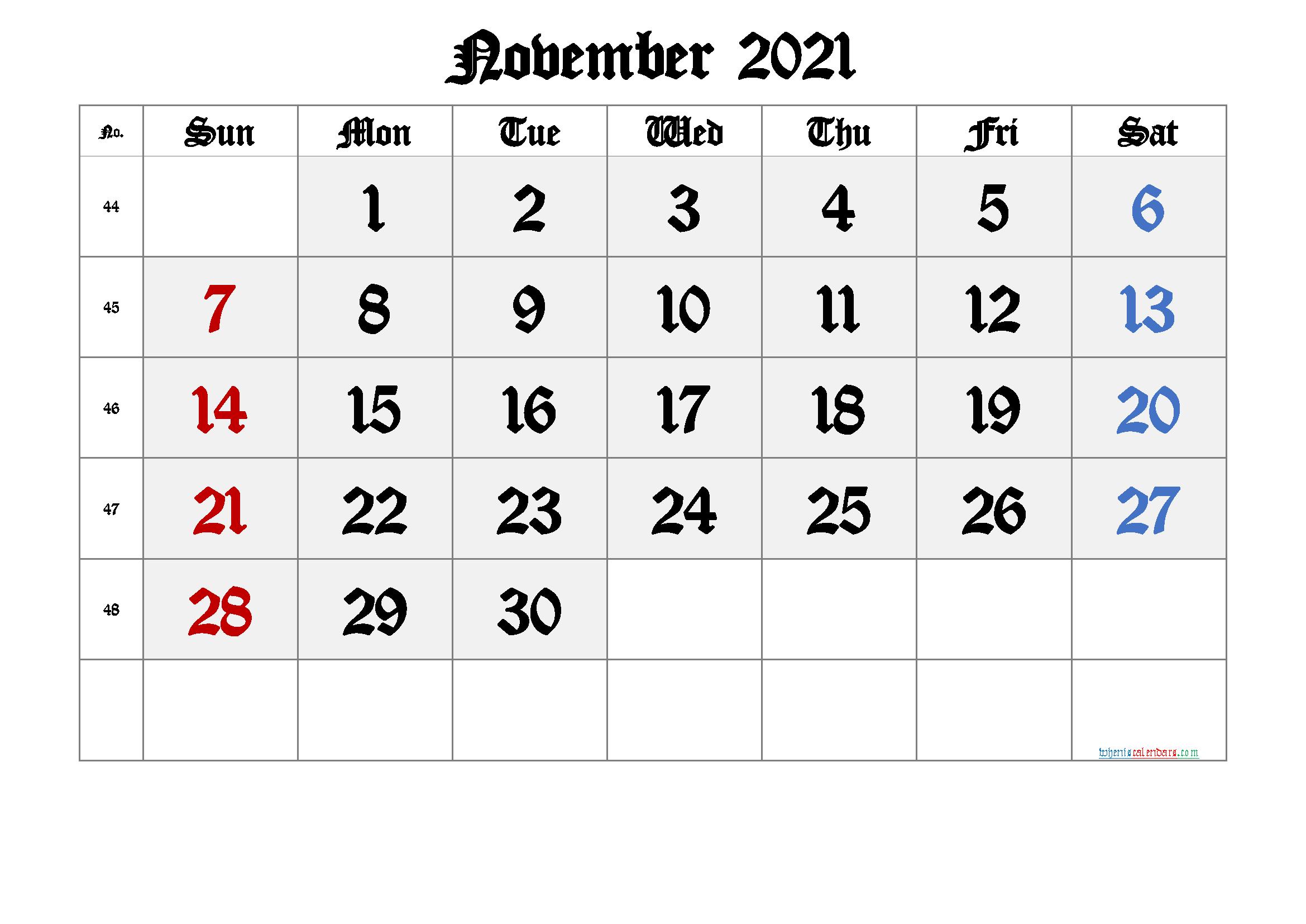 November 2021 Printable Calendar with Week Numbers - 6 ...