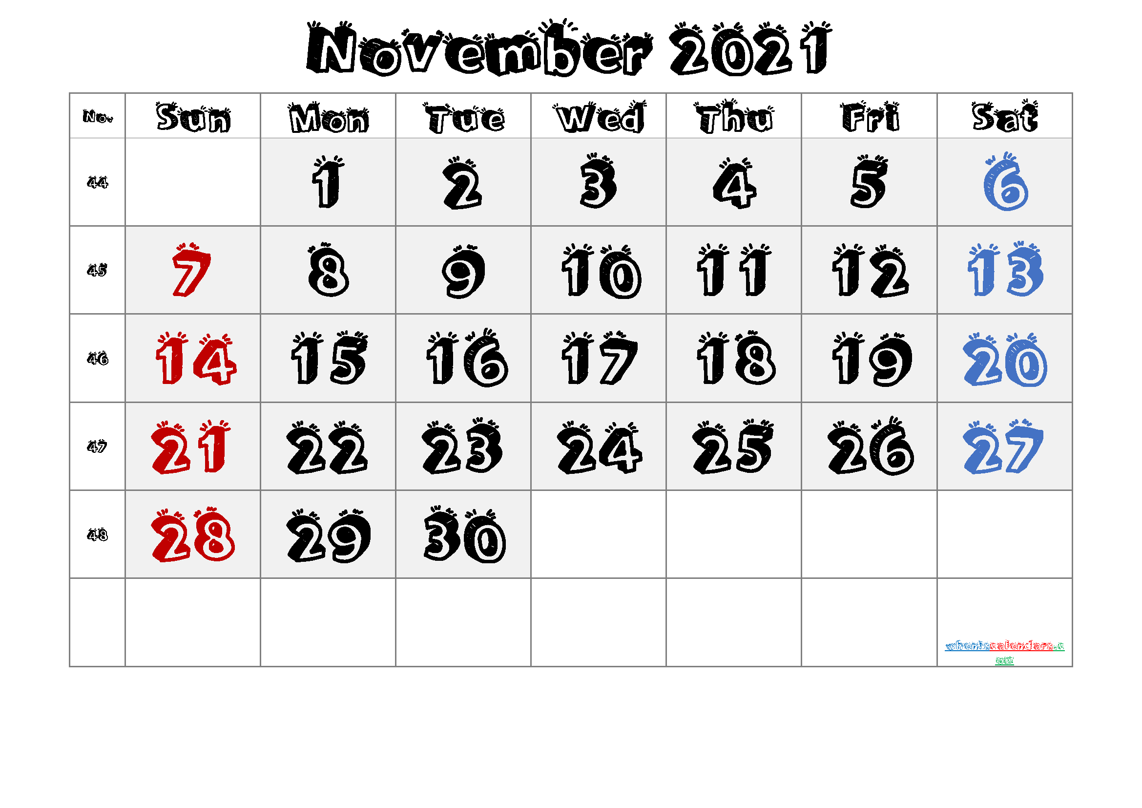 2021 November Free Printable Calendar
