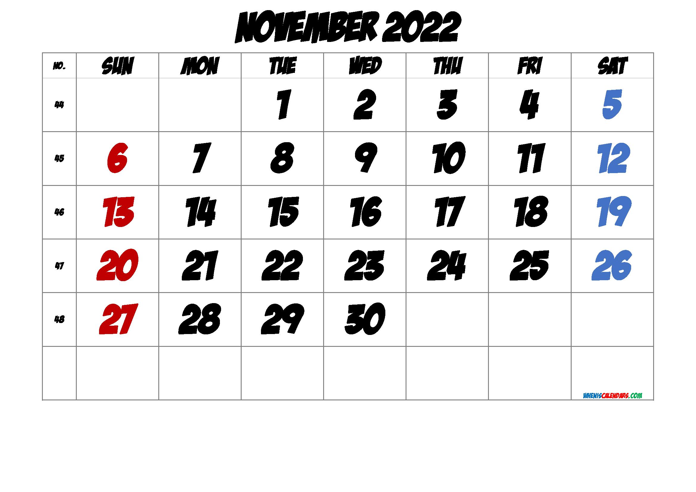 Free November 2022 Calendar with Week Numbers