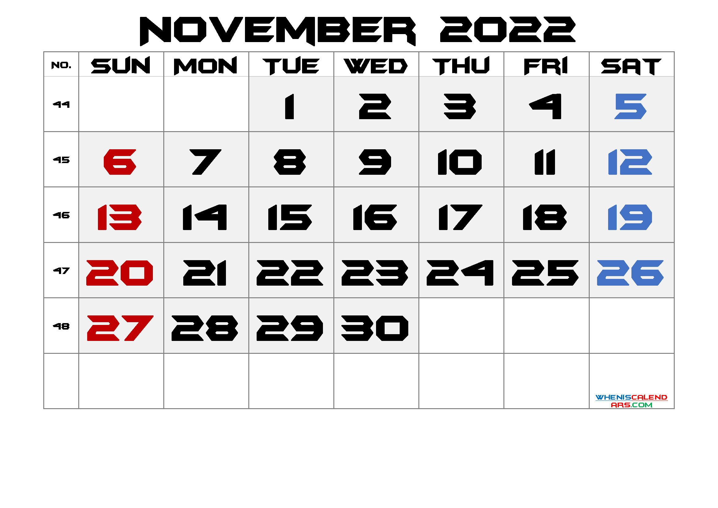 Printable November 2022 Calendar with Week Numbers