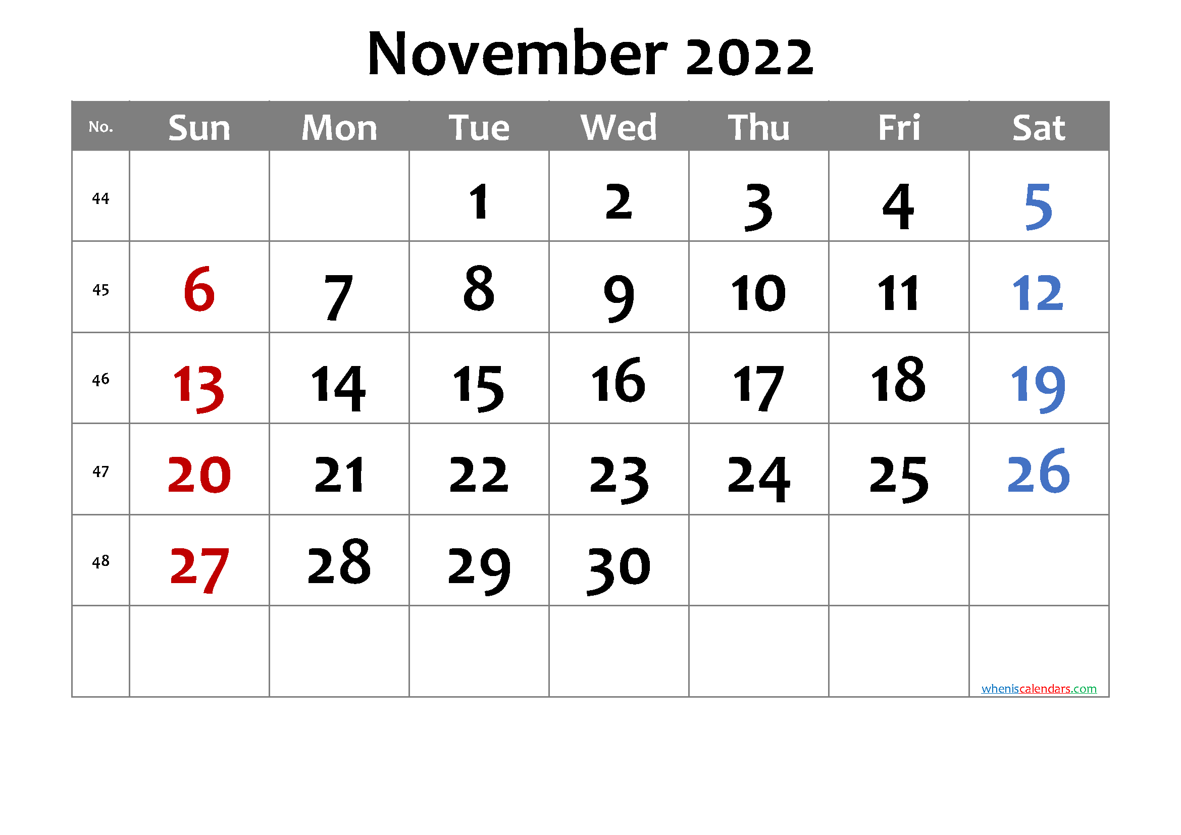 Free Printable November 2022 Calendar with Week Numbers