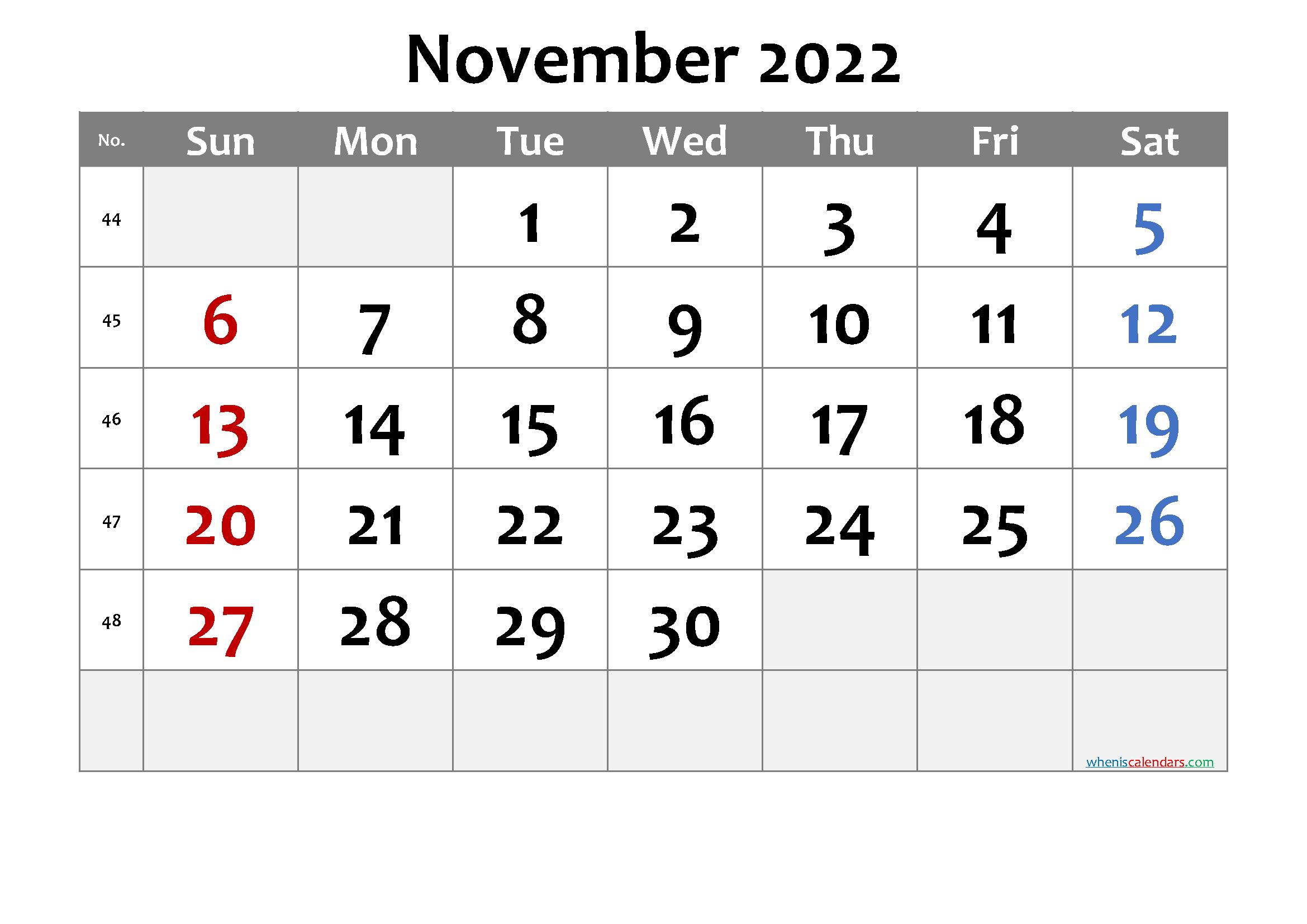 November 2022 Printable Calendar
