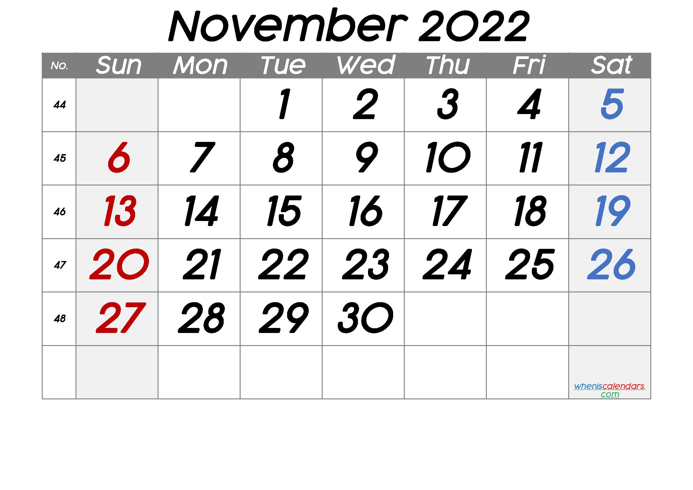Free November 2022 Calendar