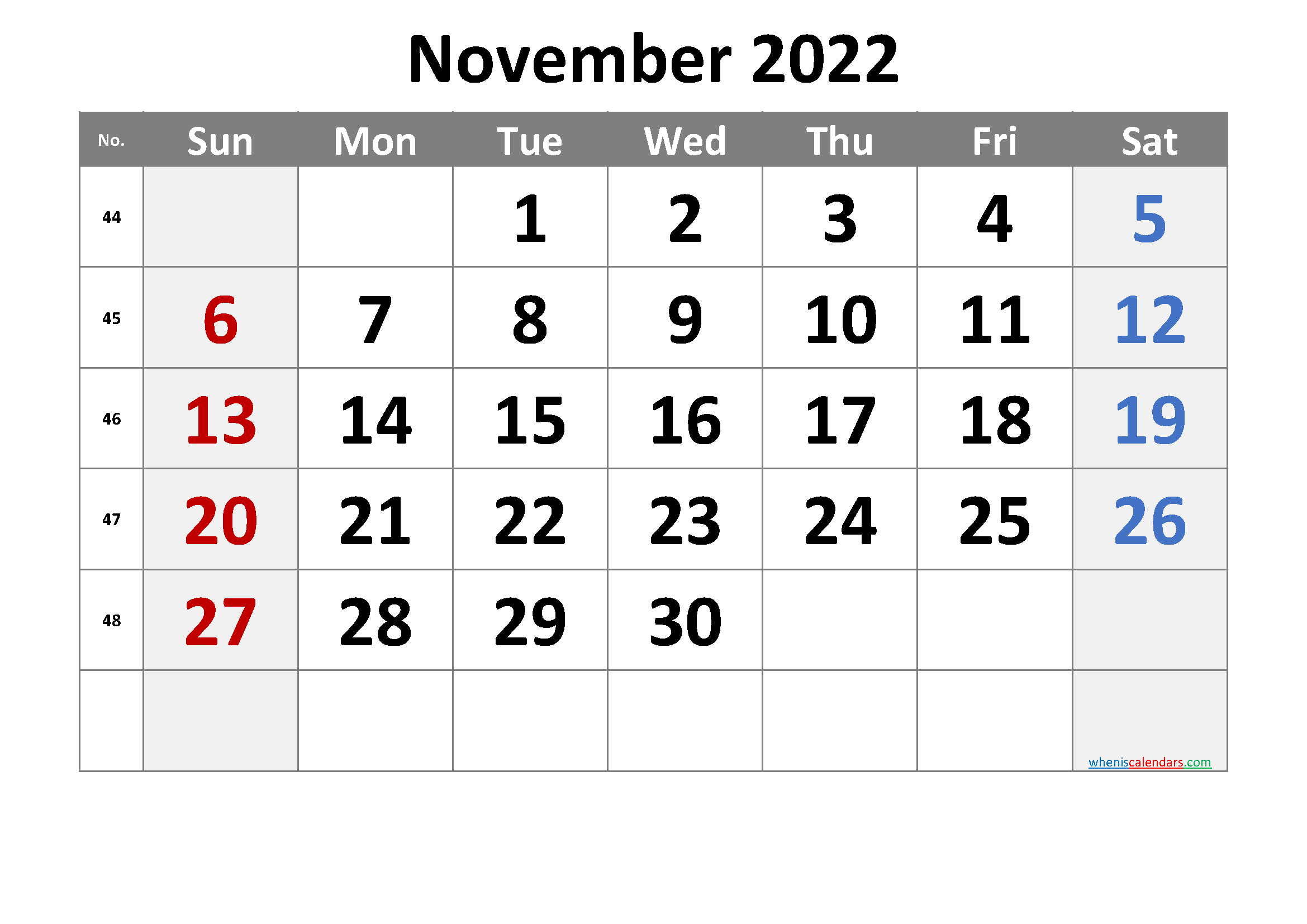 November 2022 Printable Calendar with Week Numbers